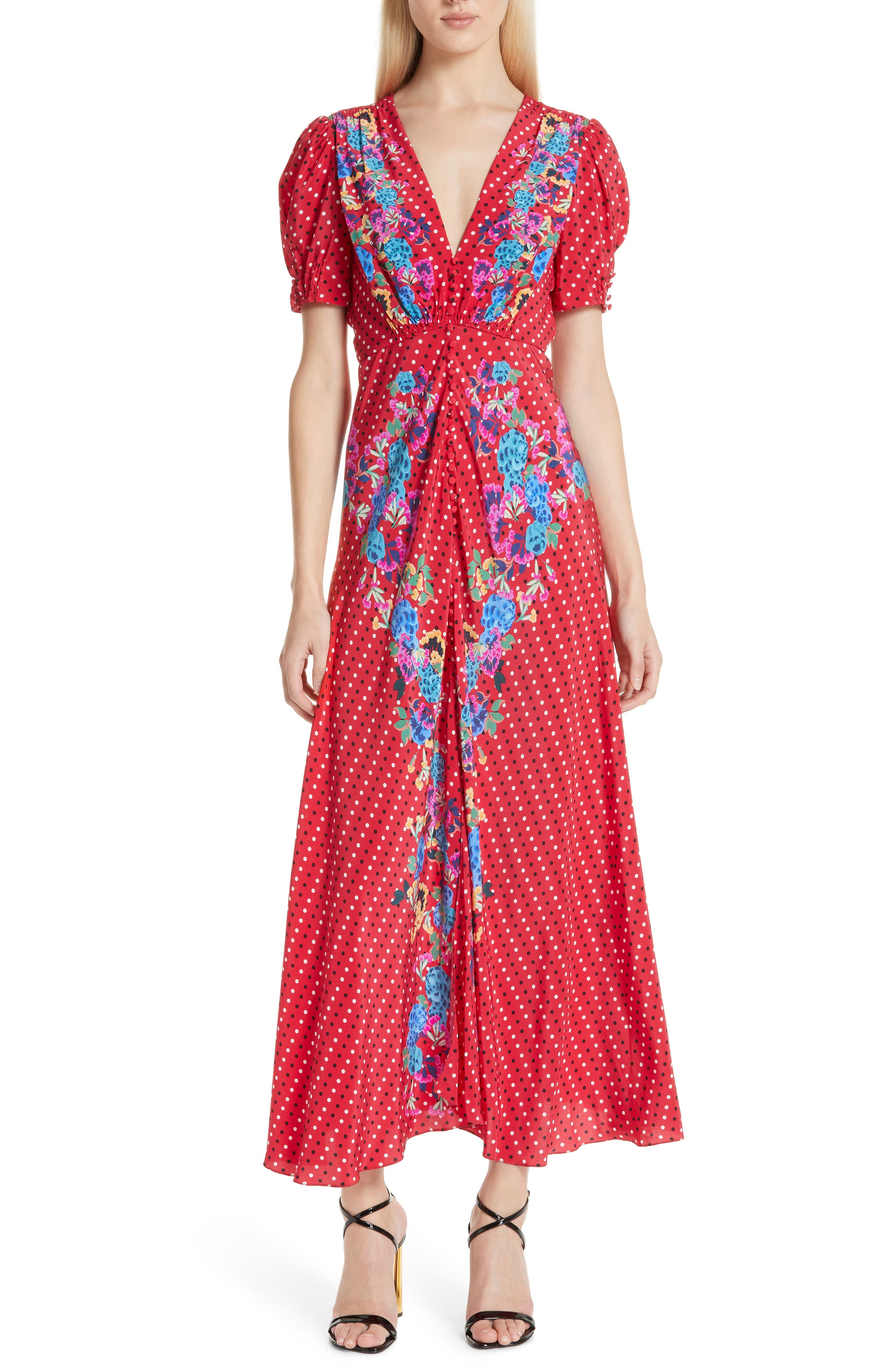 SALONI, Lea Print Silk Maxi Dress, Main thumbnail 1, color, SCARLET POLKA DOT