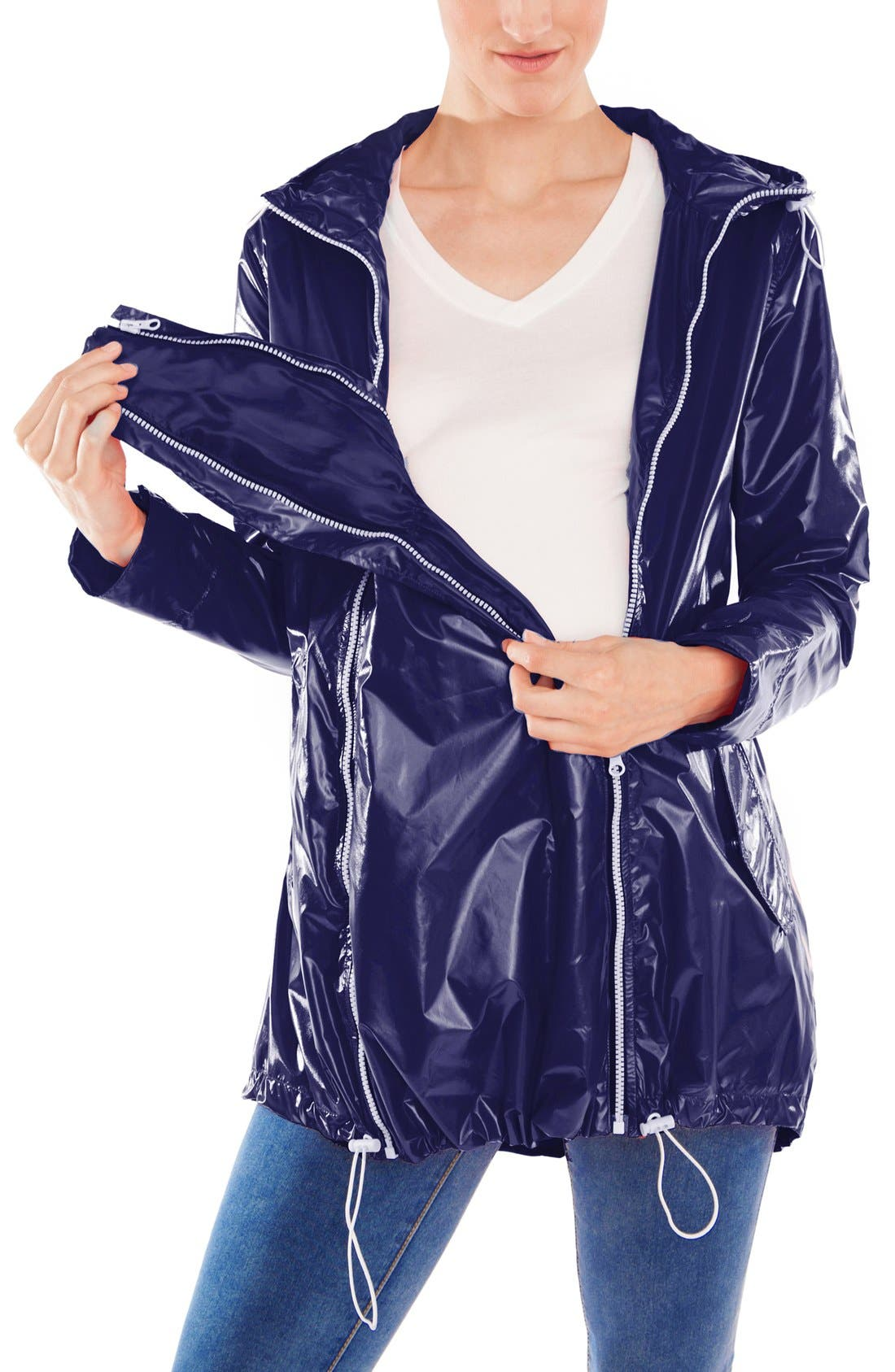 MODERN ETERNITY, Waterproof Convertible 3-in-1 Maternity Raincoat, Alternate thumbnail 10, color, BRIGHT NAVY