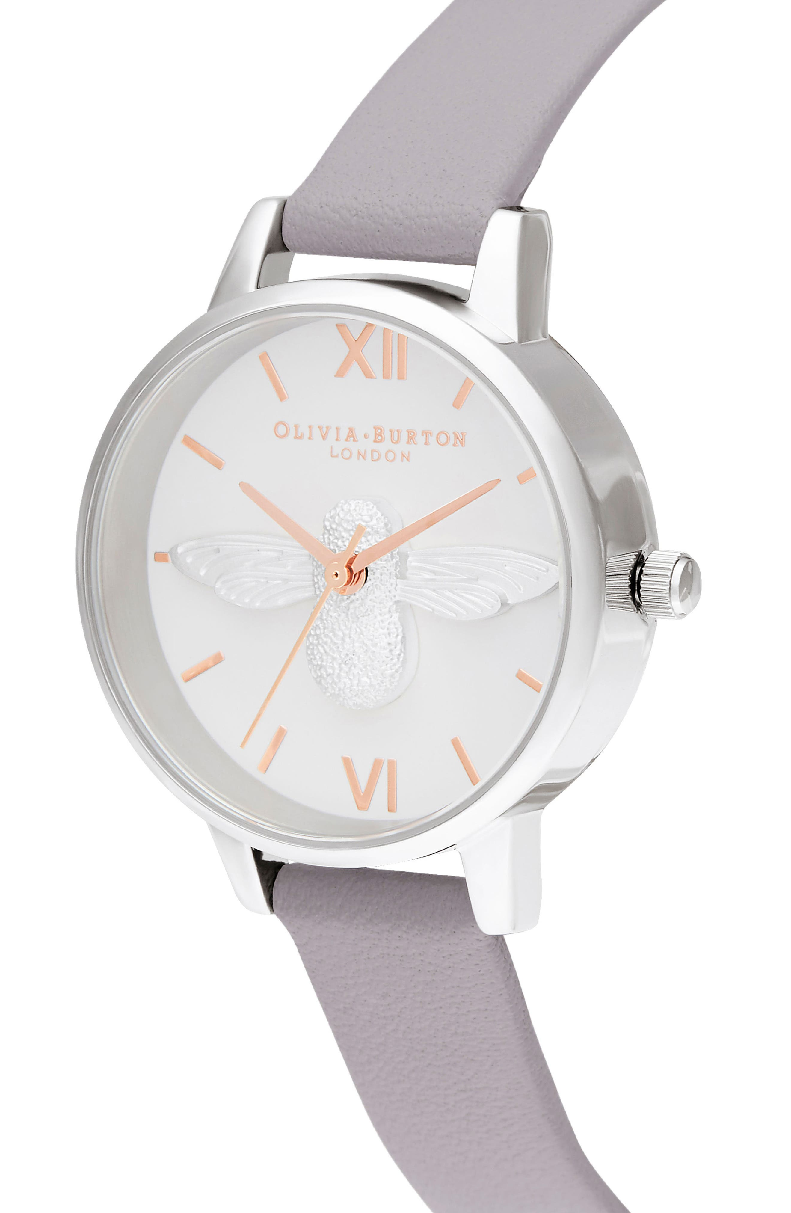 OLIVIA BURTON, 3D Bee Leather Strap Watch, 30mm, Alternate thumbnail 4, color, GREY LILAC/ WHITE BEE/ SILVER