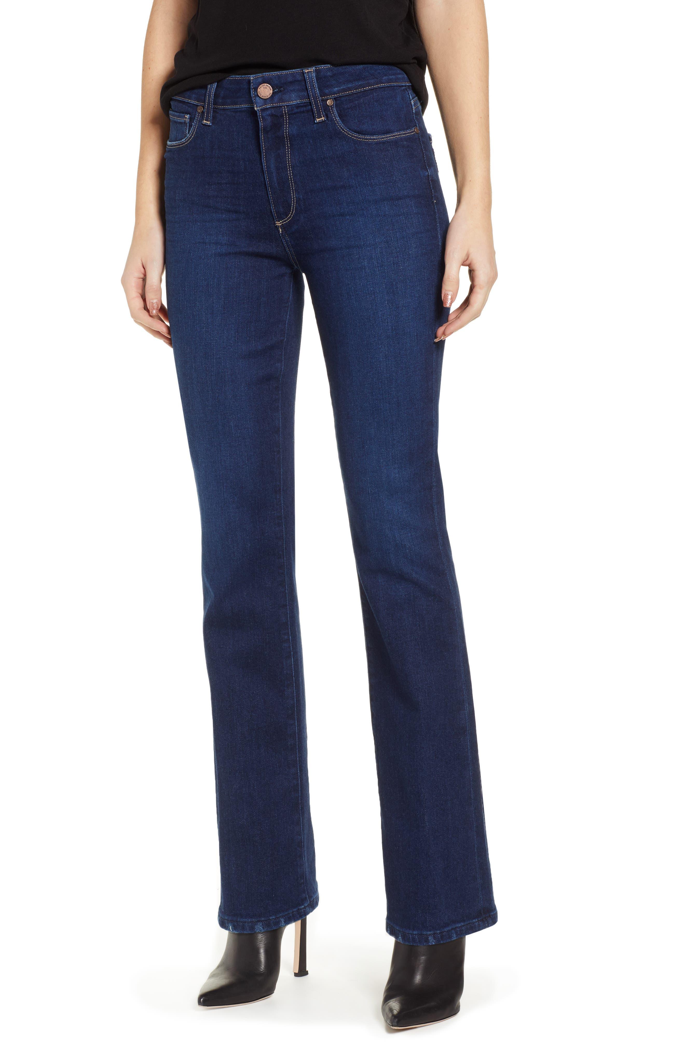 PAIGE, Transcend Vintage - Manhattan High Waist Bootcut Jeans, Main thumbnail 1, color, 400