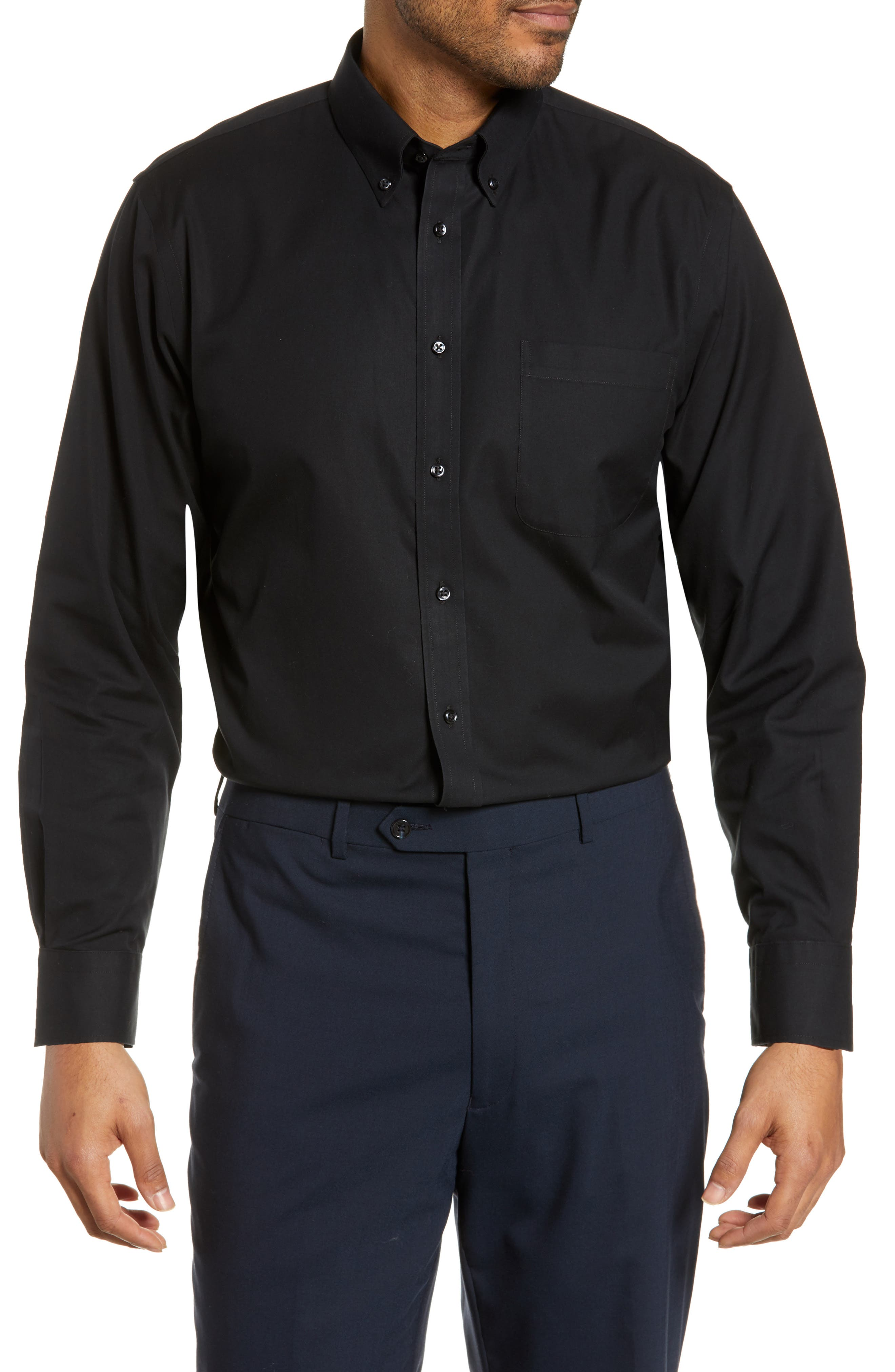 NORDSTROM MEN'S SHOP Smartcare<sup>™</sup> Traditional Fit Pinpoint Dress Shirt, Main, color, BLACK ROCK
