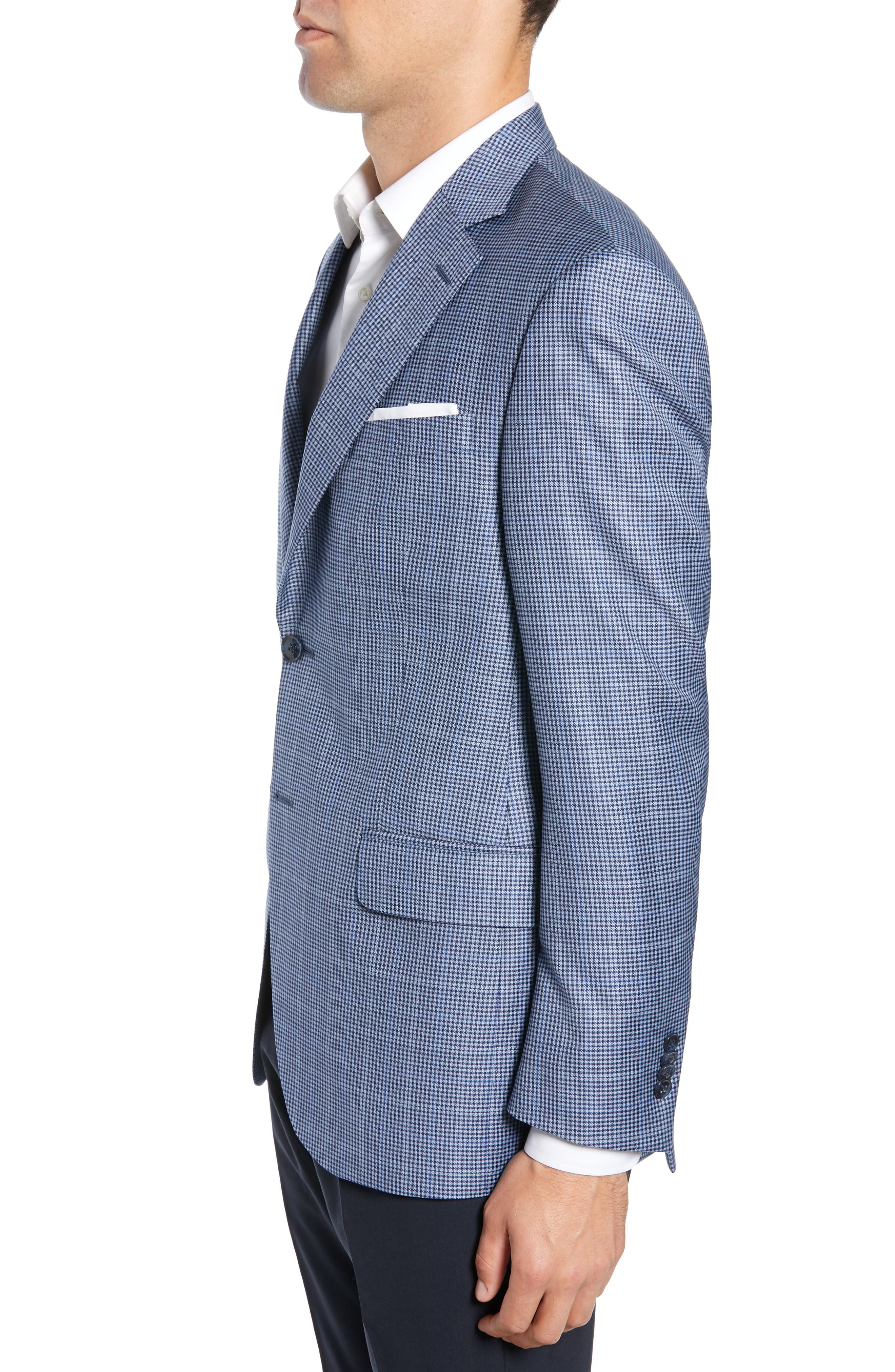 PETER MILLAR, Classic Fit Houndstooth Sport Coat, Alternate thumbnail 3, color, LIGHT BLUE