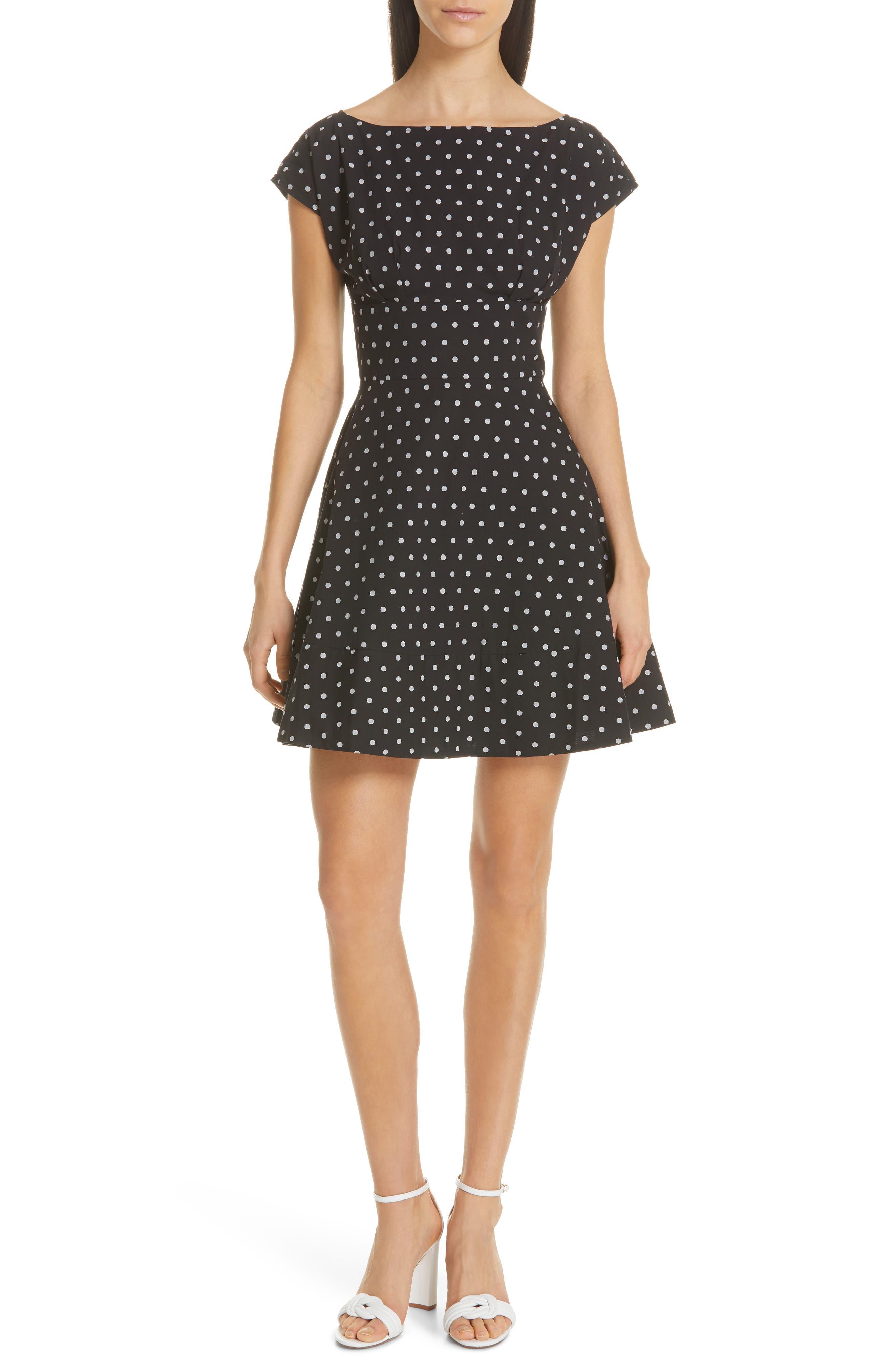 Kate Spade New York Fiorella Polka Dot Dress, Black