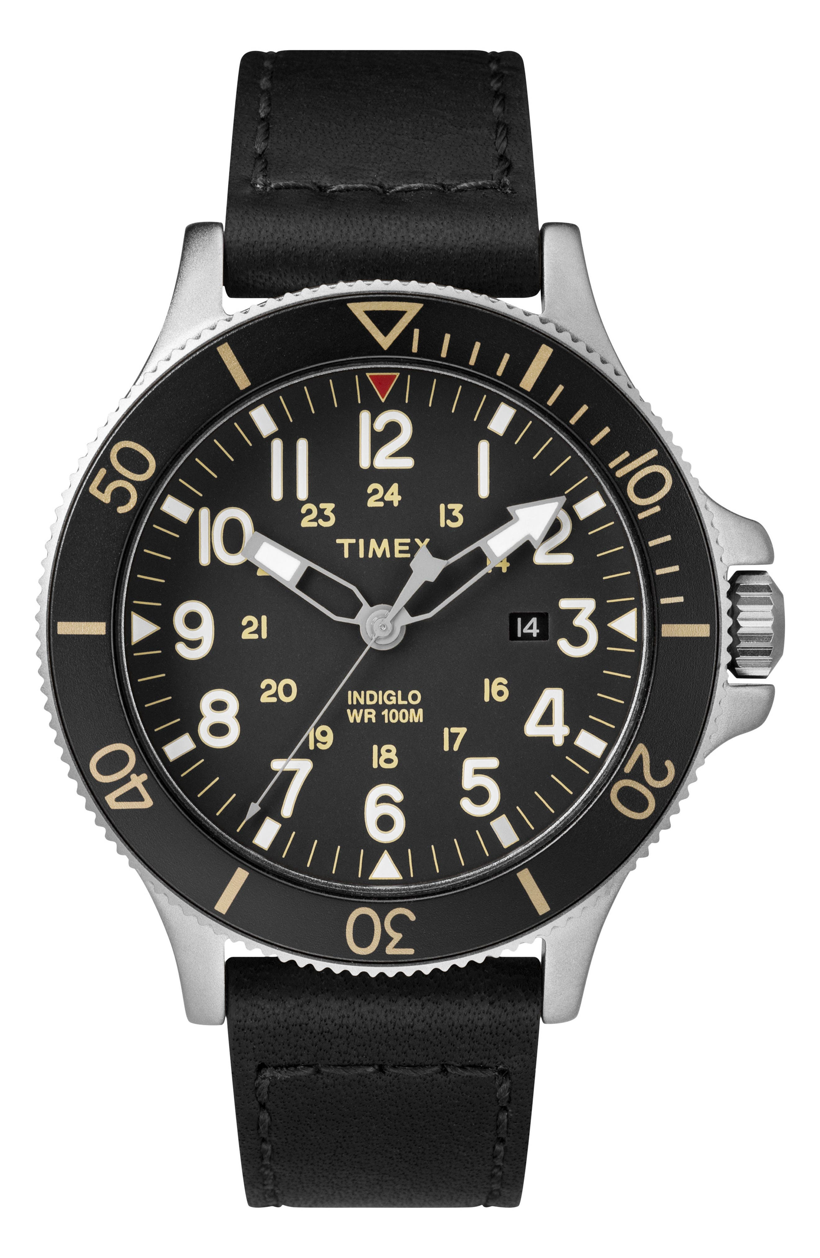 TIMEX<SUP>®</SUP>, Allied Leather Strap Watch, 43mm, Main thumbnail 1, color, BLACK/ SILVER