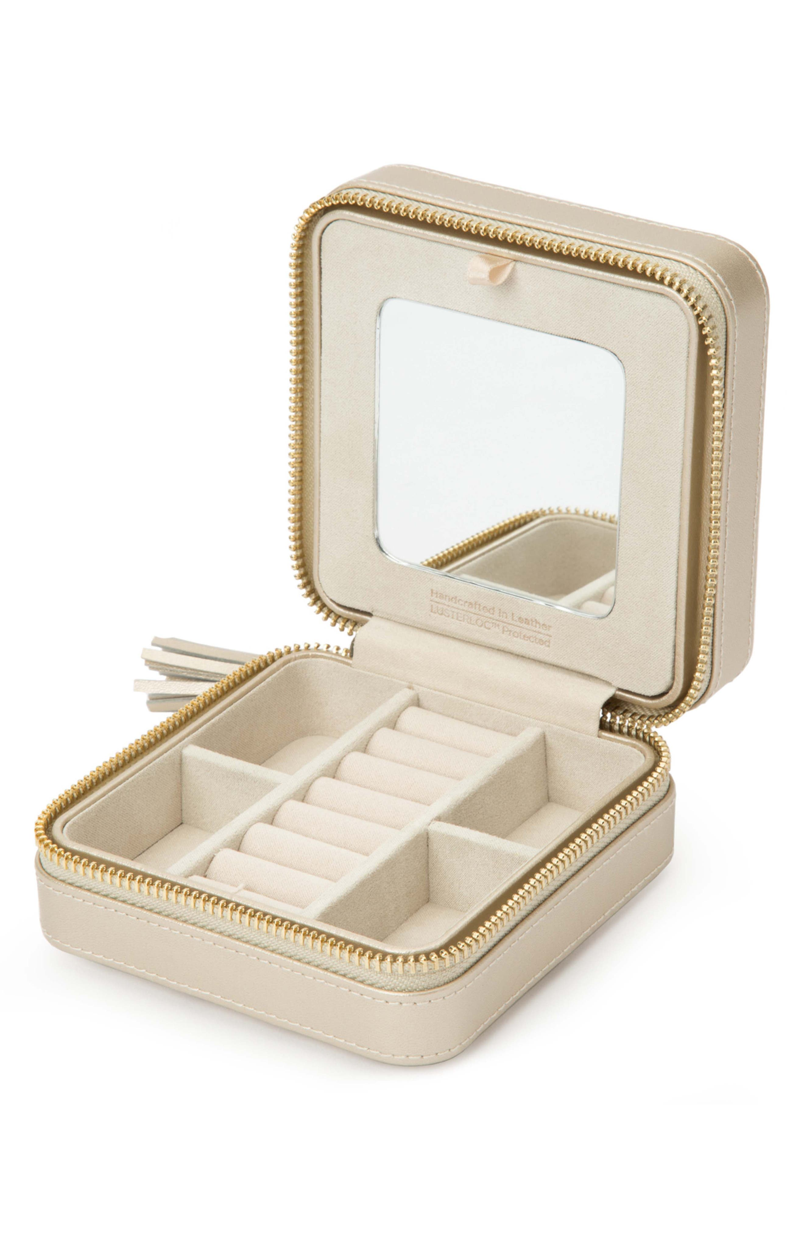 WOLF, 'Caroline' Travel Jewelry Case, Alternate thumbnail 2, color, CHAMPAGNE