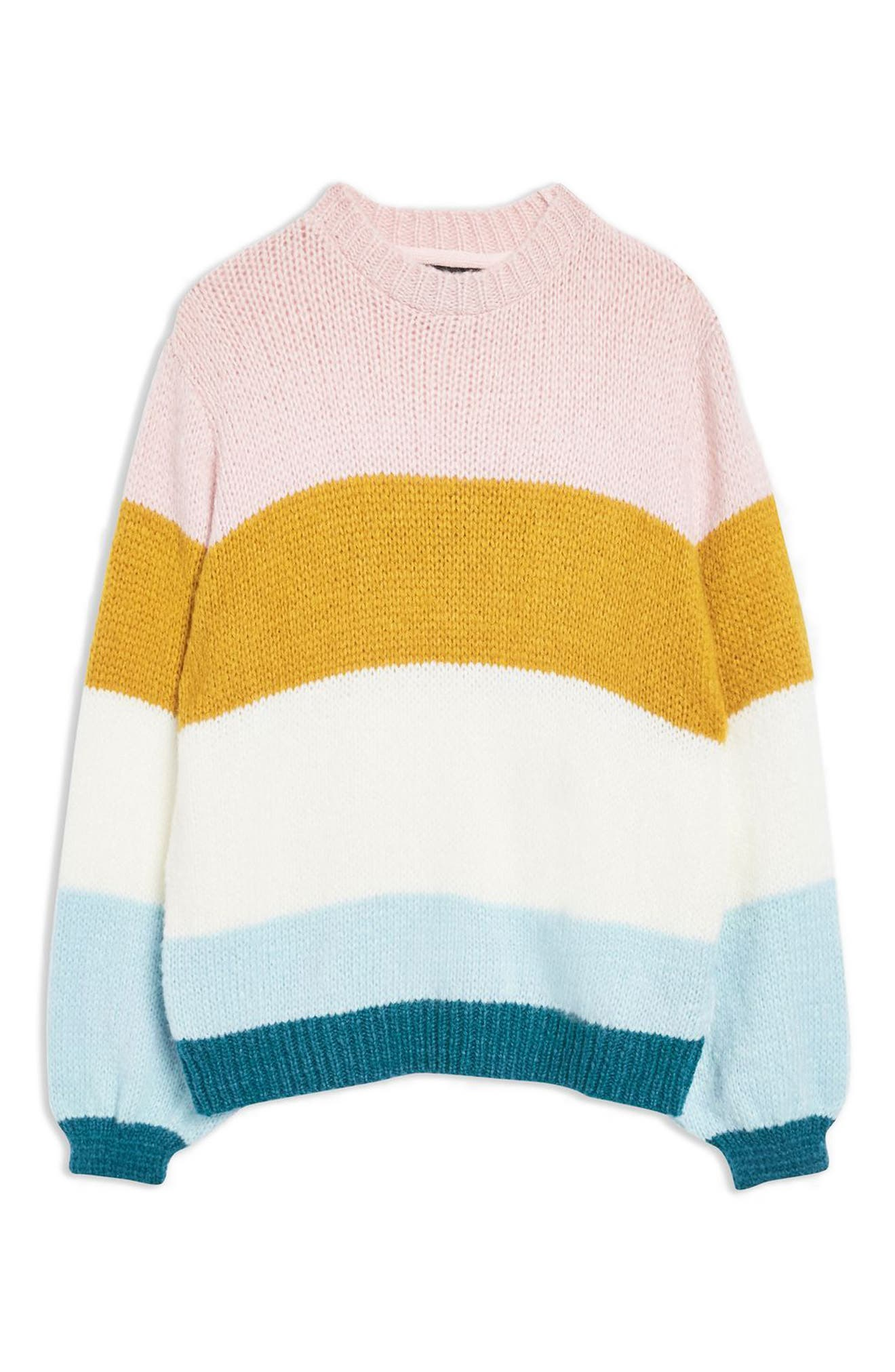 TOPSHOP, Colorblock Knit Pullover, Alternate thumbnail 3, color, 900