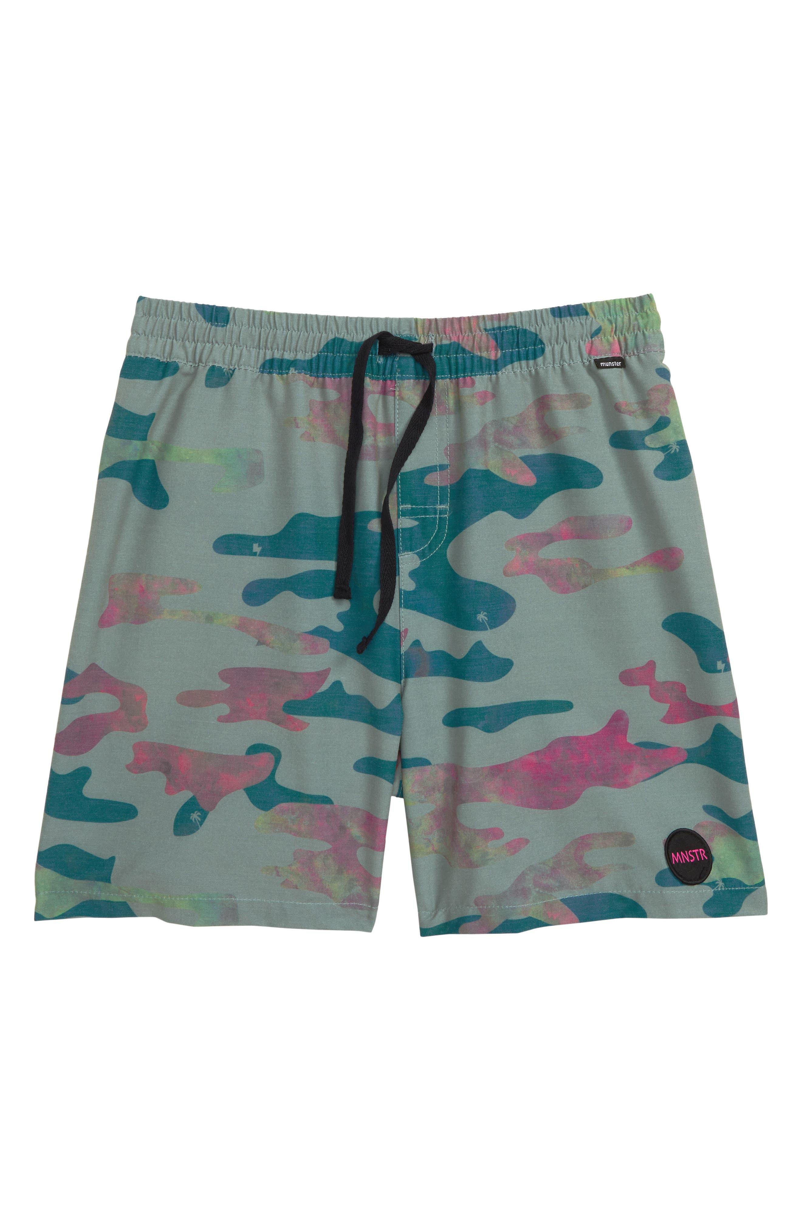 MUNSTERKIDS, Wamo Camo Knit Shorts, Main thumbnail 1, color, CAMO