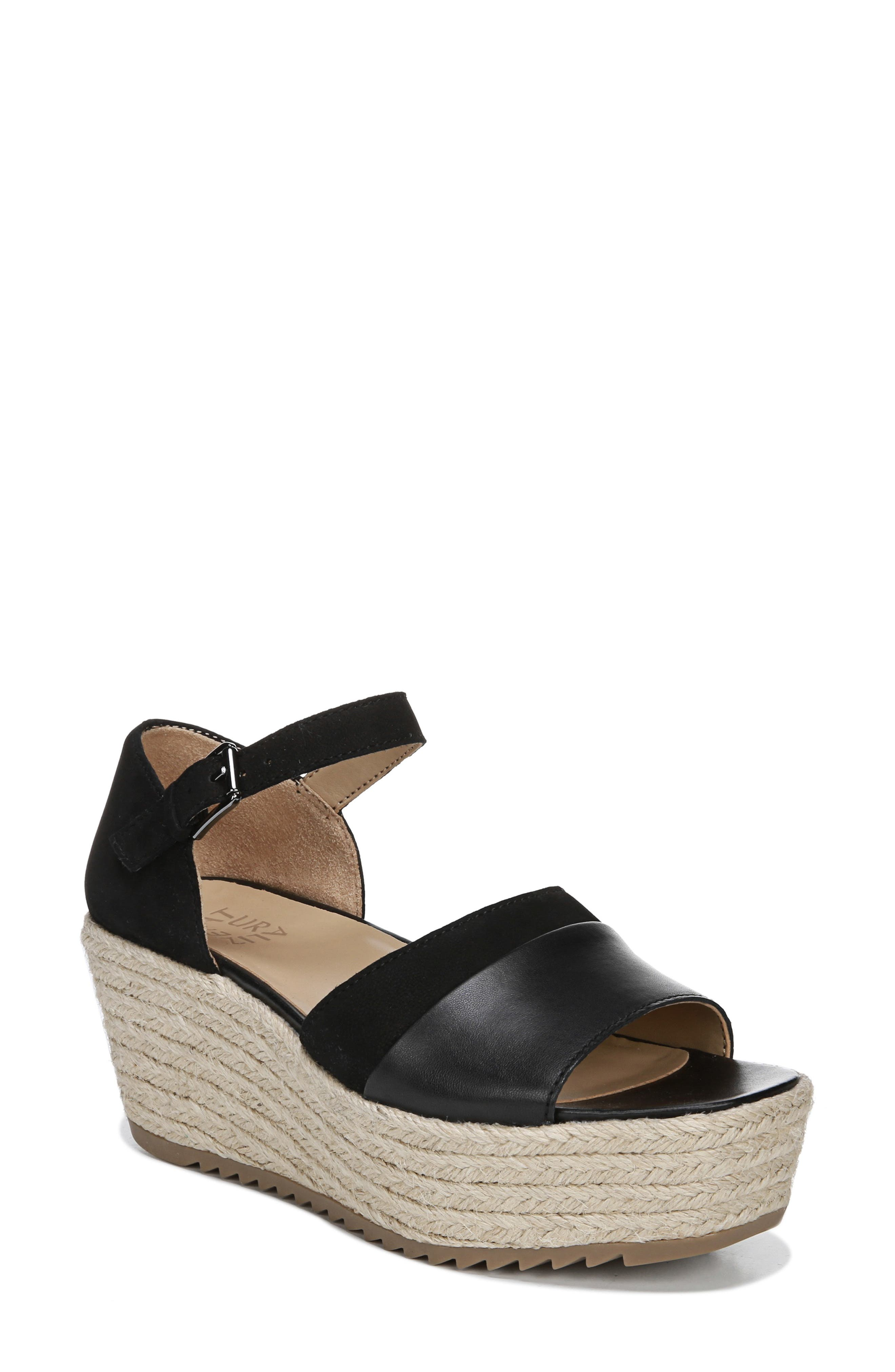 NATURALIZER, Opal Espadrille Platform Wedge Sandal, Main thumbnail 1, color, BLACK LEATHER
