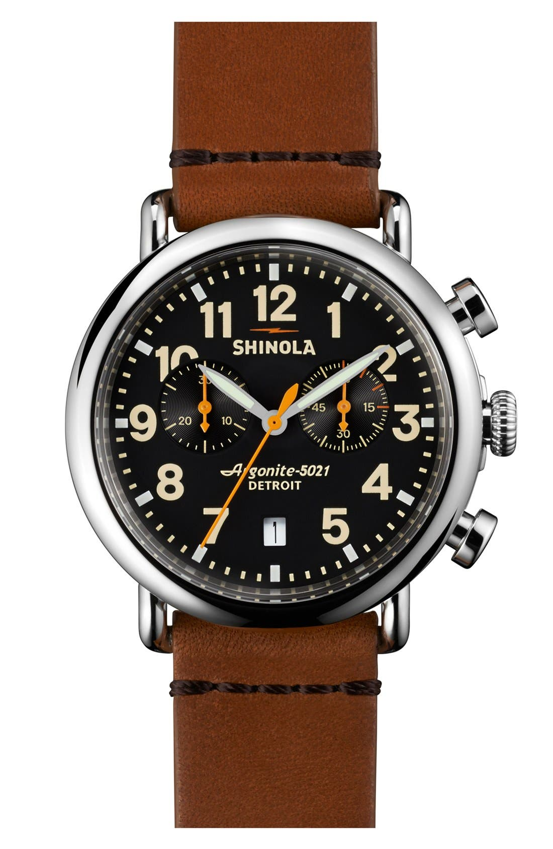 SHINOLA, 'The Runwell Chrono' Leather Strap Watch, 41mm, Main thumbnail 1, color, TAN/ BLACK