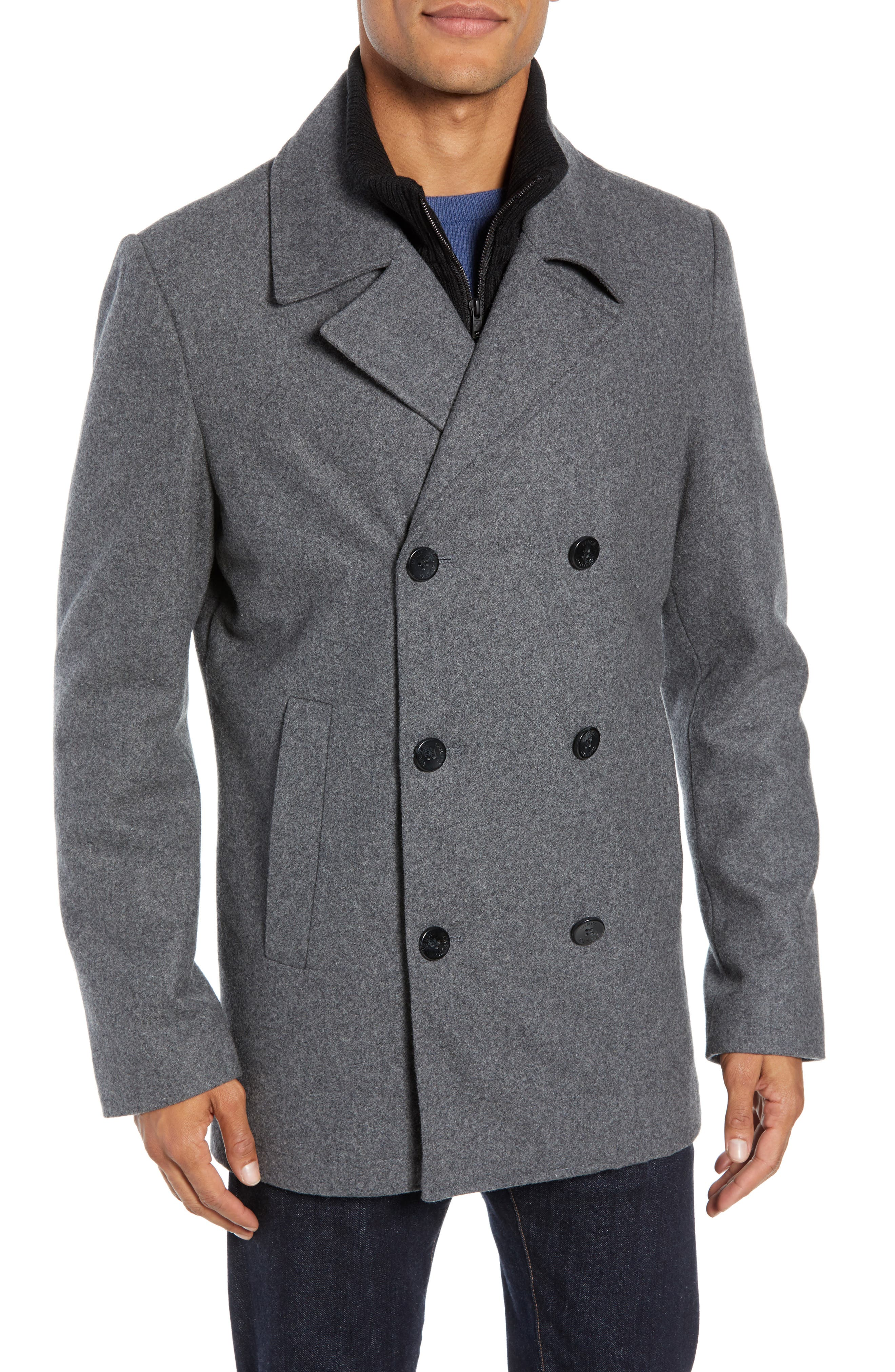 VINCE CAMUTO Dock Peacoat, Main, color, HEATHER GREY