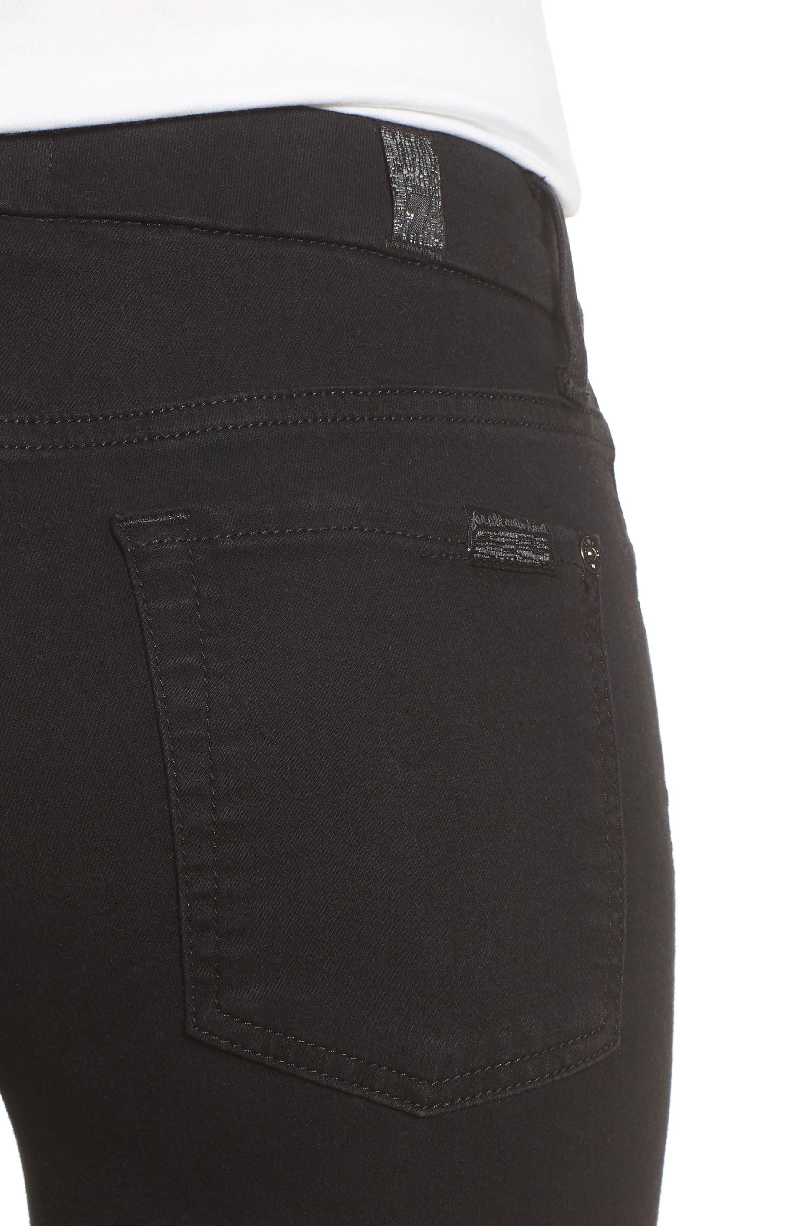 7 FOR ALL MANKIND<SUP>®</SUP>, b(air) Raw Hem Crop Skinny Jeans, Alternate thumbnail 5, color, BAIR BLACK