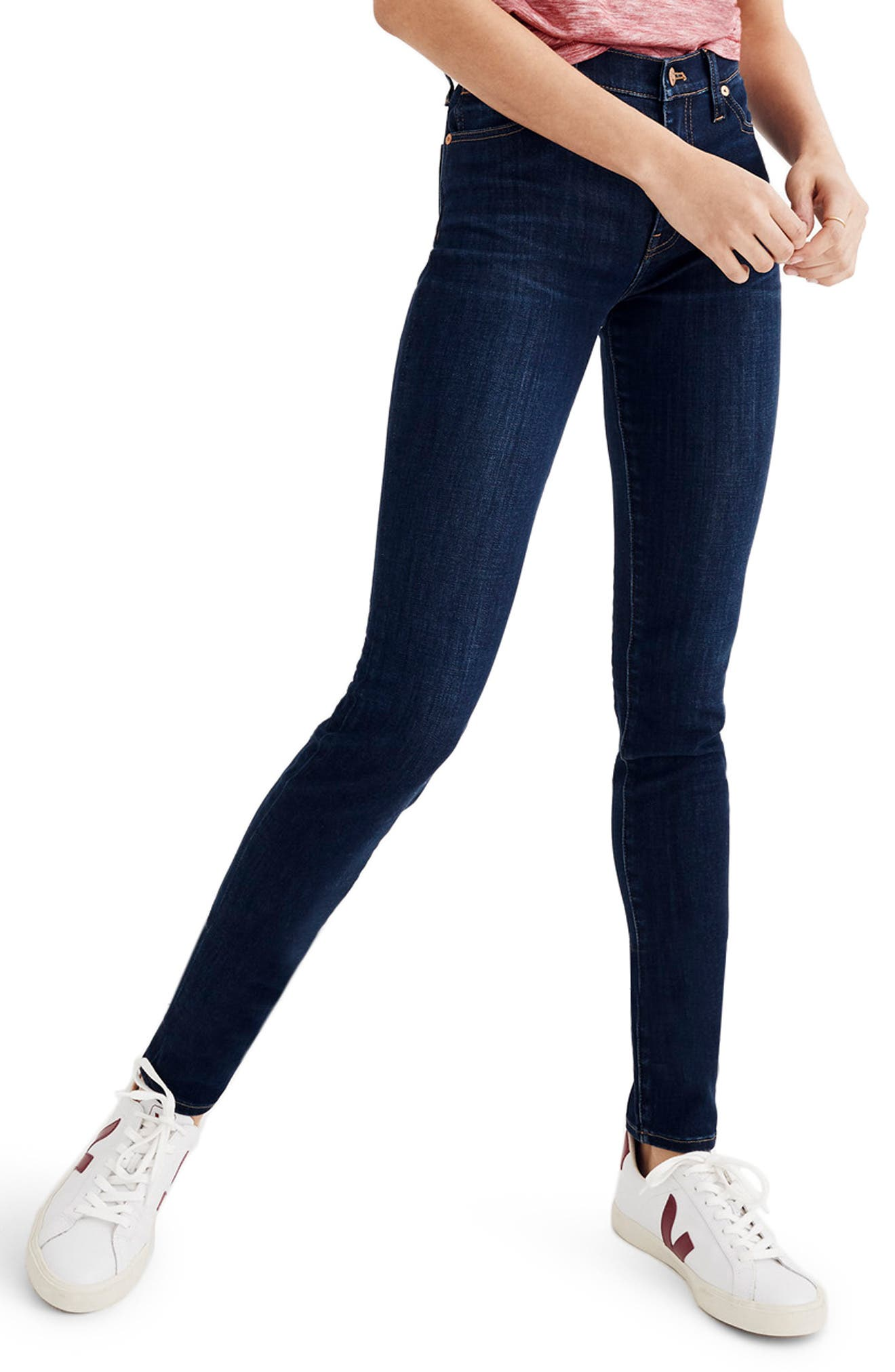 MADEWELL, 9-Inch High Rise Skinny Jeans, Main thumbnail 1, color, LARKSPUR
