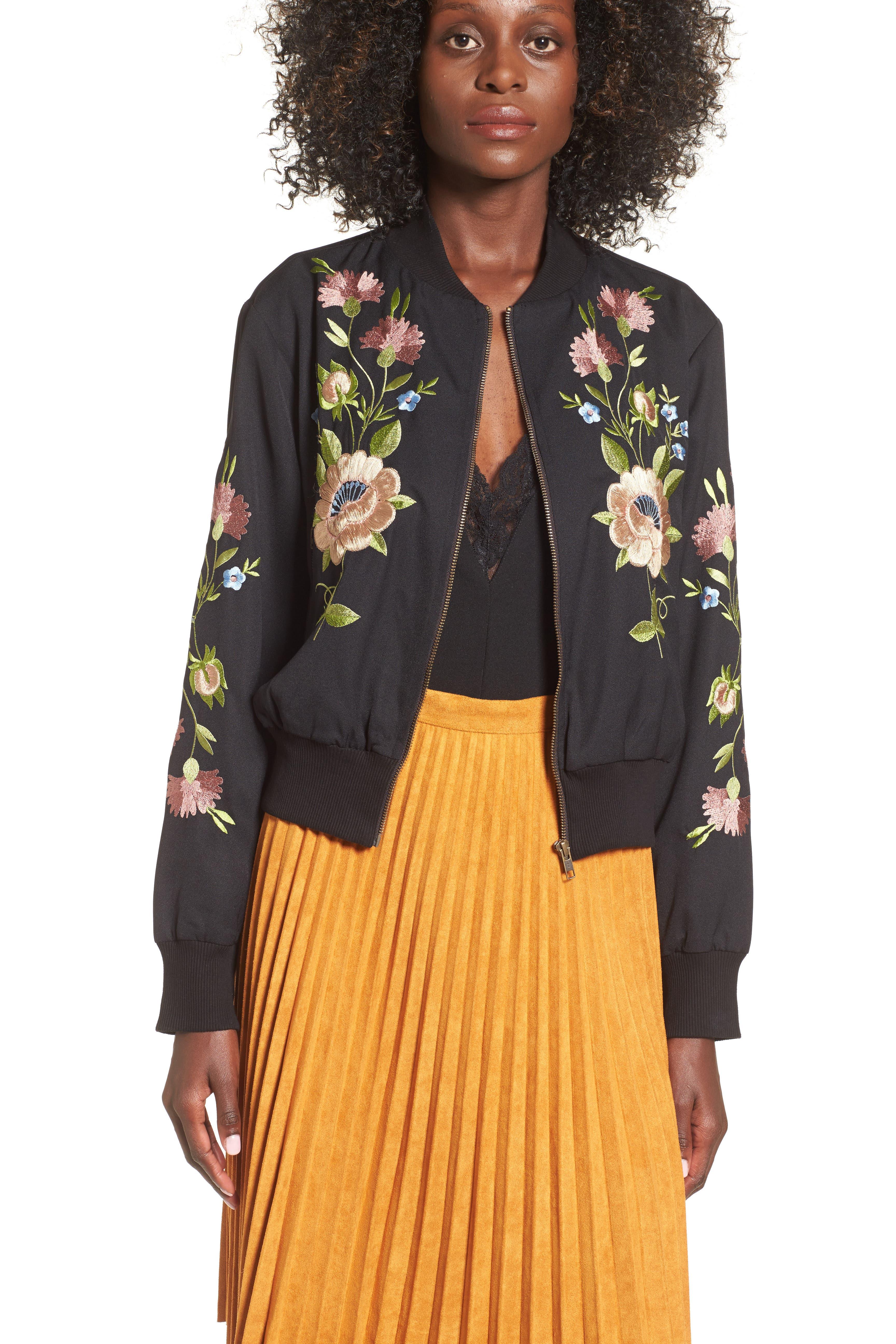 GLAMOROUS, Floral Embroidered Bomber Jacket, Alternate thumbnail 6, color, 001