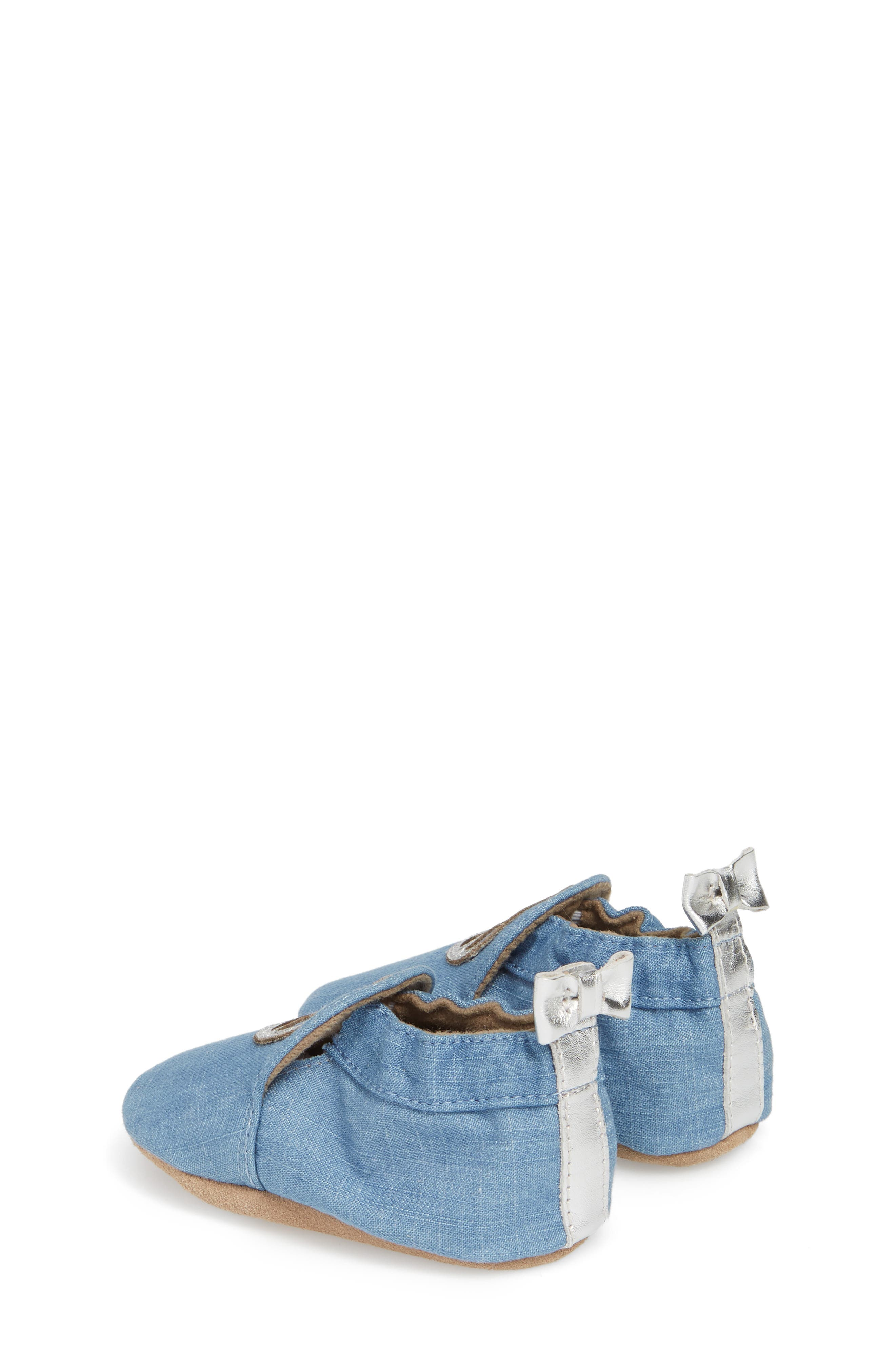 ROBEEZ<SUP>®</SUP>, Peace Out Moccasin Crib Shoe, Alternate thumbnail 2, color, BLUE