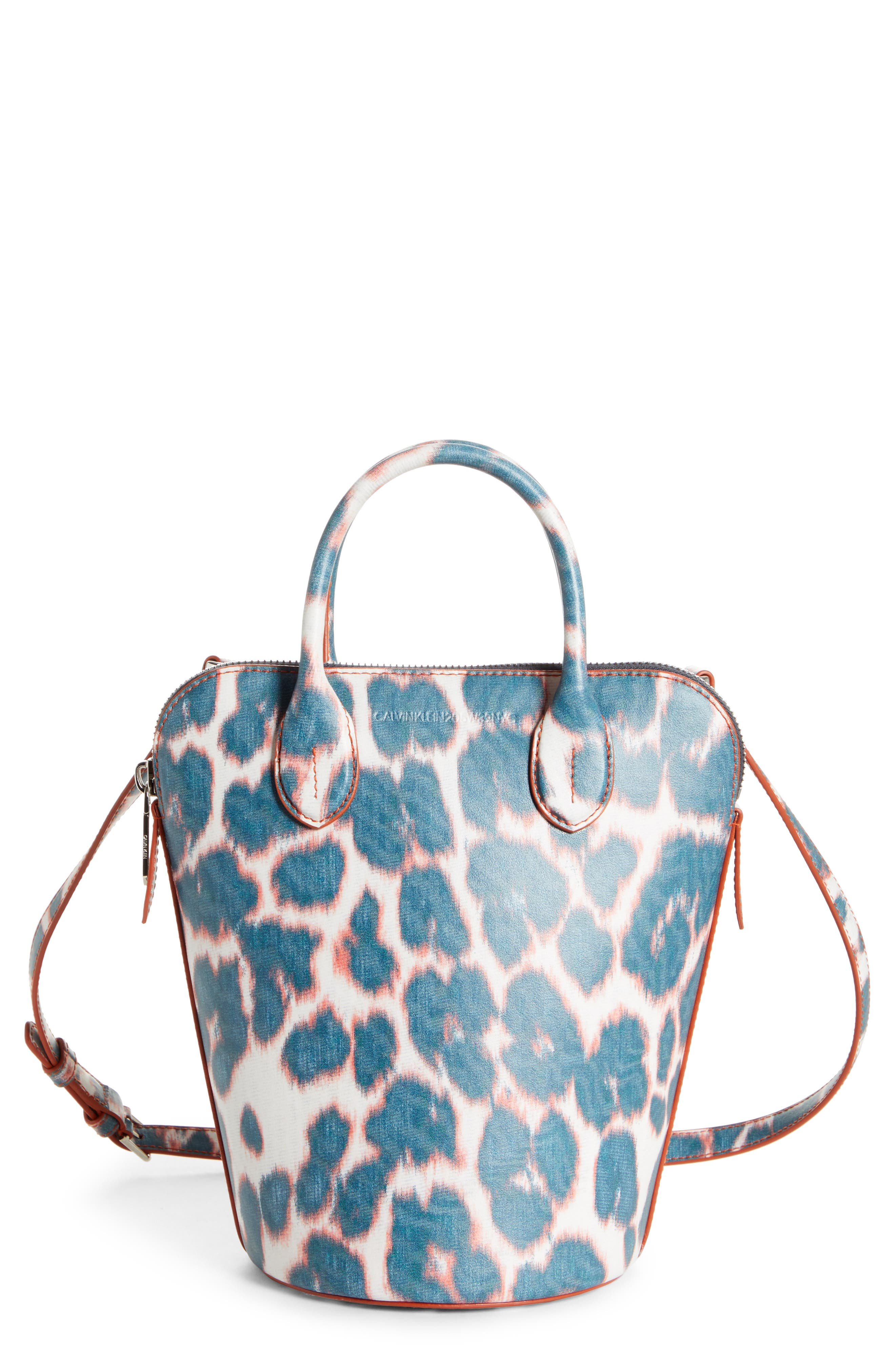 CALVIN KLEIN 205W39NYC, Mini Dalton Calfskin Bucket Bag, Main thumbnail 1, color, ELECTRIC PANTHER