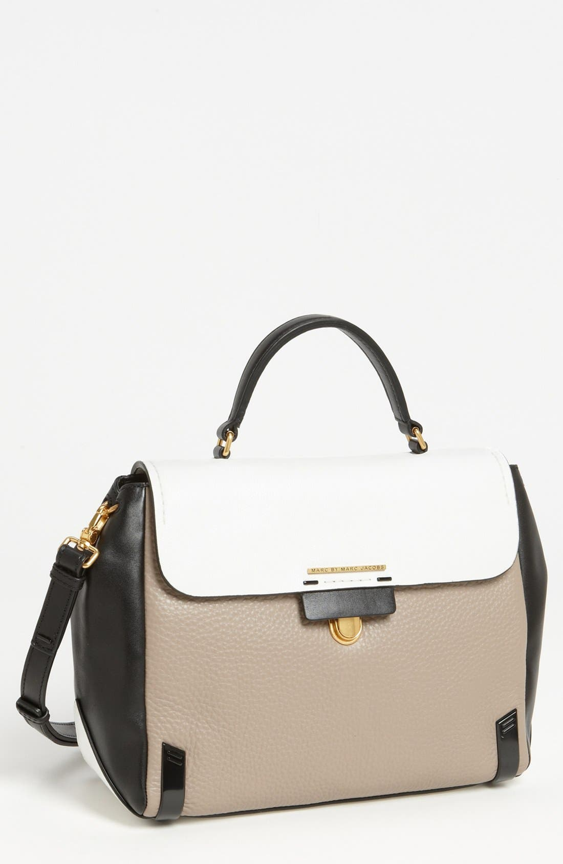 MARC JACOBS, MARC BY MARC JACOBS 'Sheltered Island' Colorblock Leather Satchel, Medium, Main thumbnail 1, color, 250