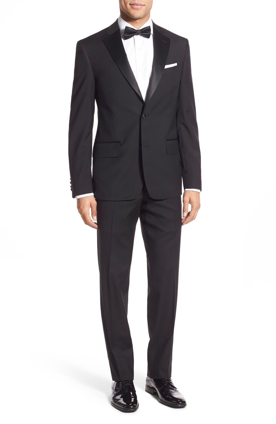 NORDSTROM MEN'S SHOP, Trim Fit Wool Tuxedo, Main thumbnail 1, color, BLACK