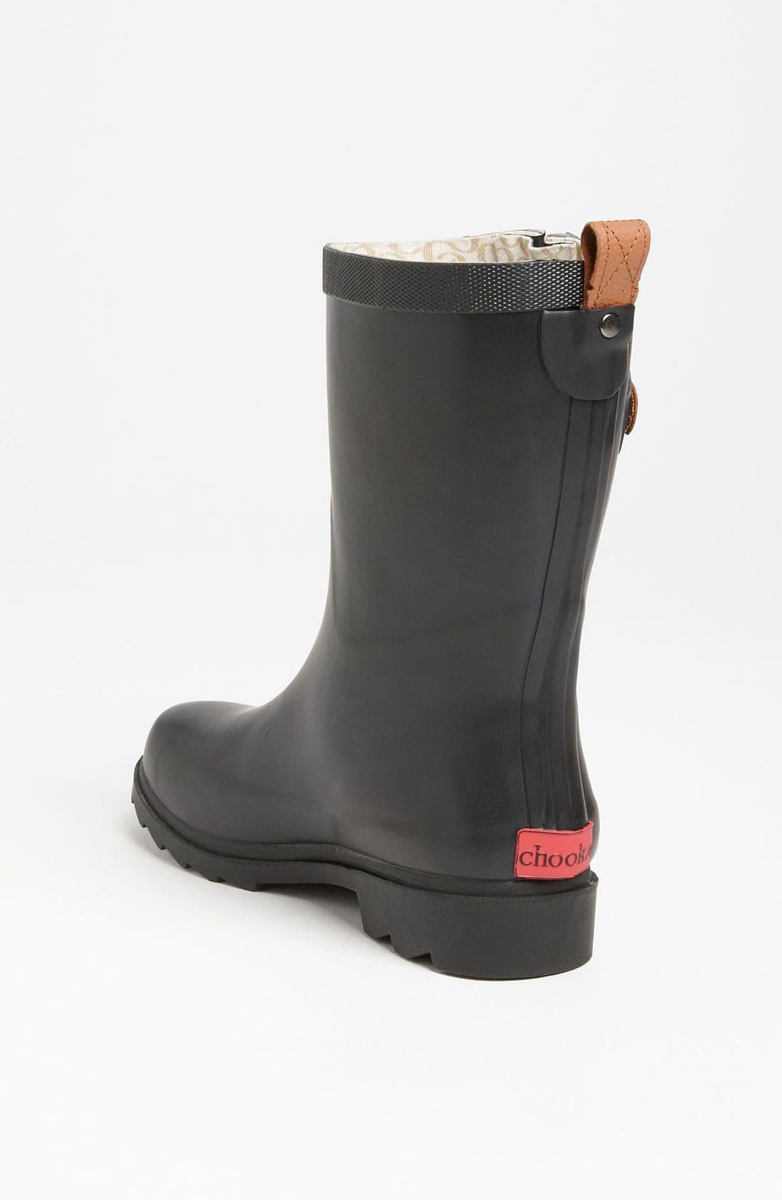 CHOOKA, 'Top Solid Mid Height' Rain Boot, Alternate thumbnail 3, color, 001