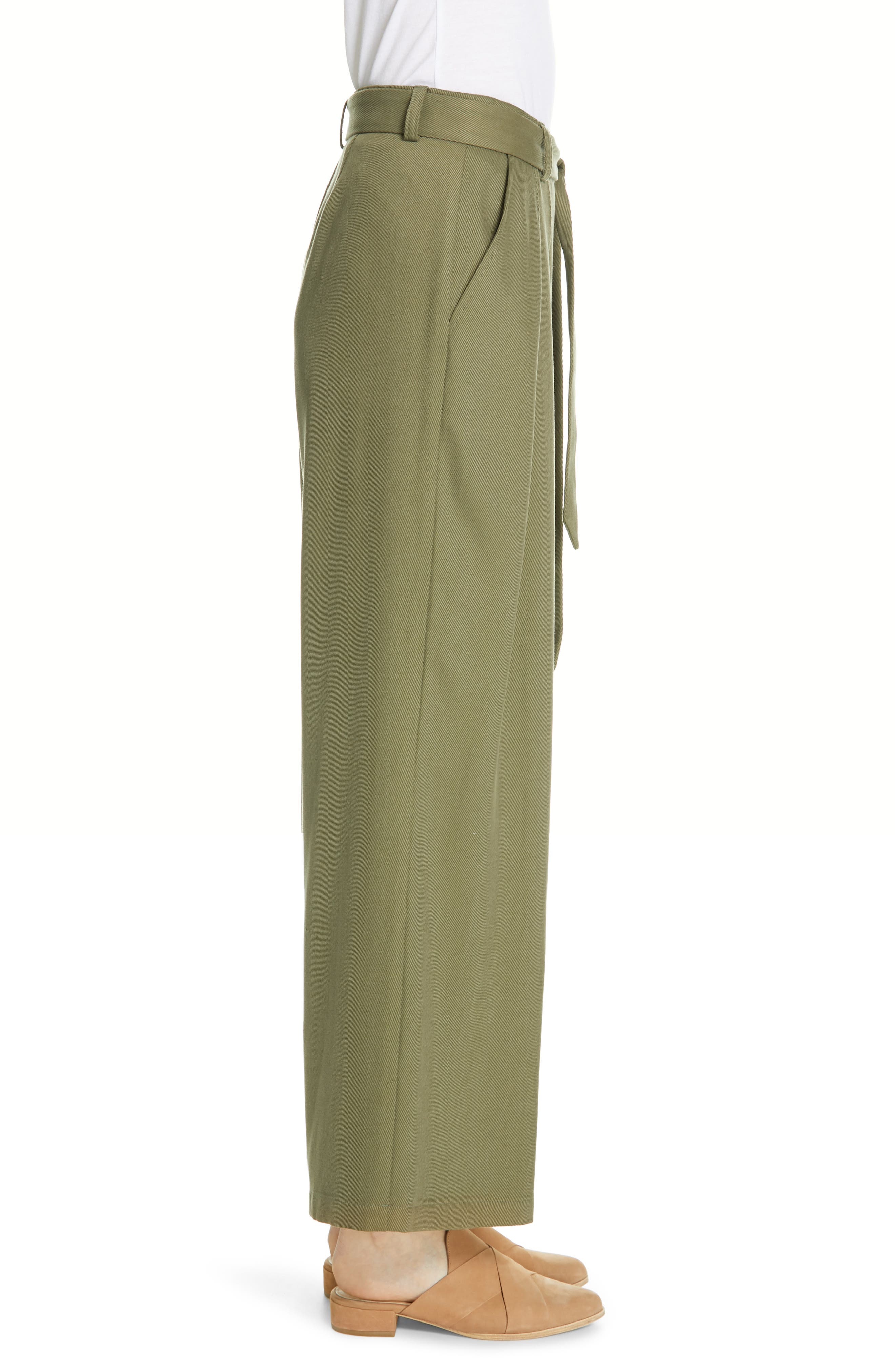 EILEEN FISHER, Belted Wide Leg Pants, Alternate thumbnail 4, color, 301