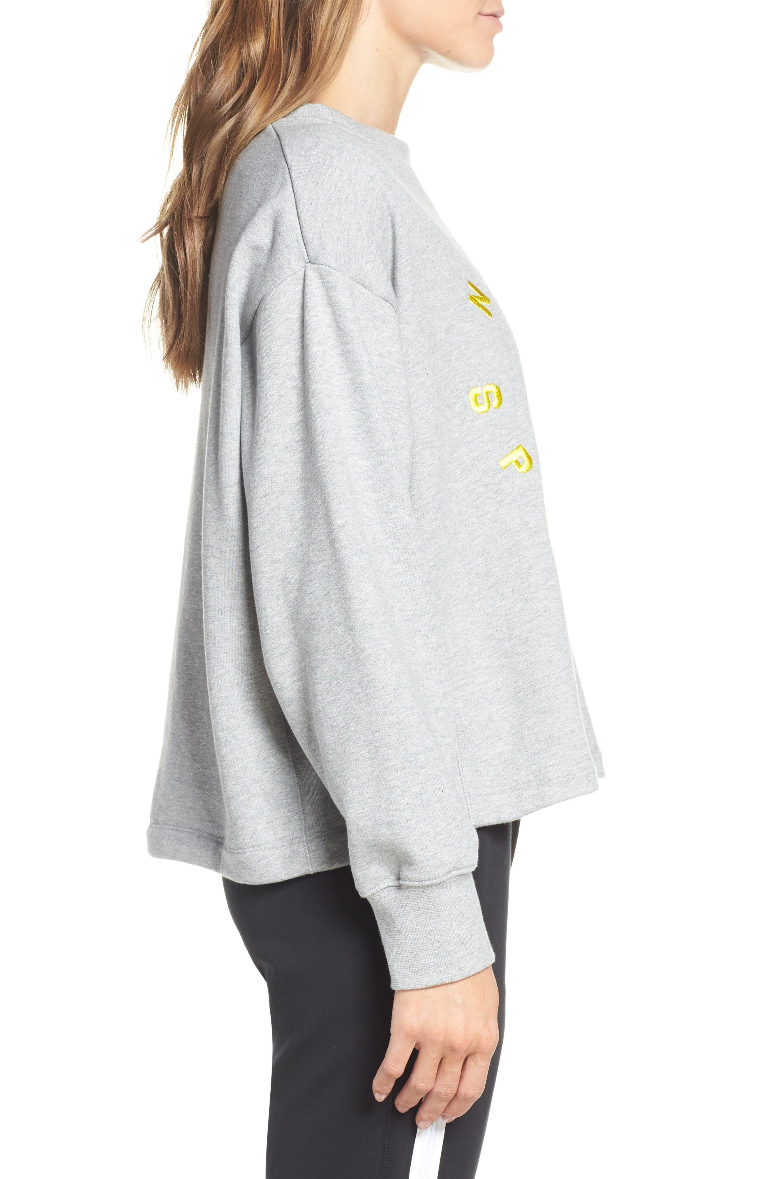 NIKE, Sportswear Logo Oversize Sweatshirt, Alternate thumbnail 4, color, DARK GREY HEATHER