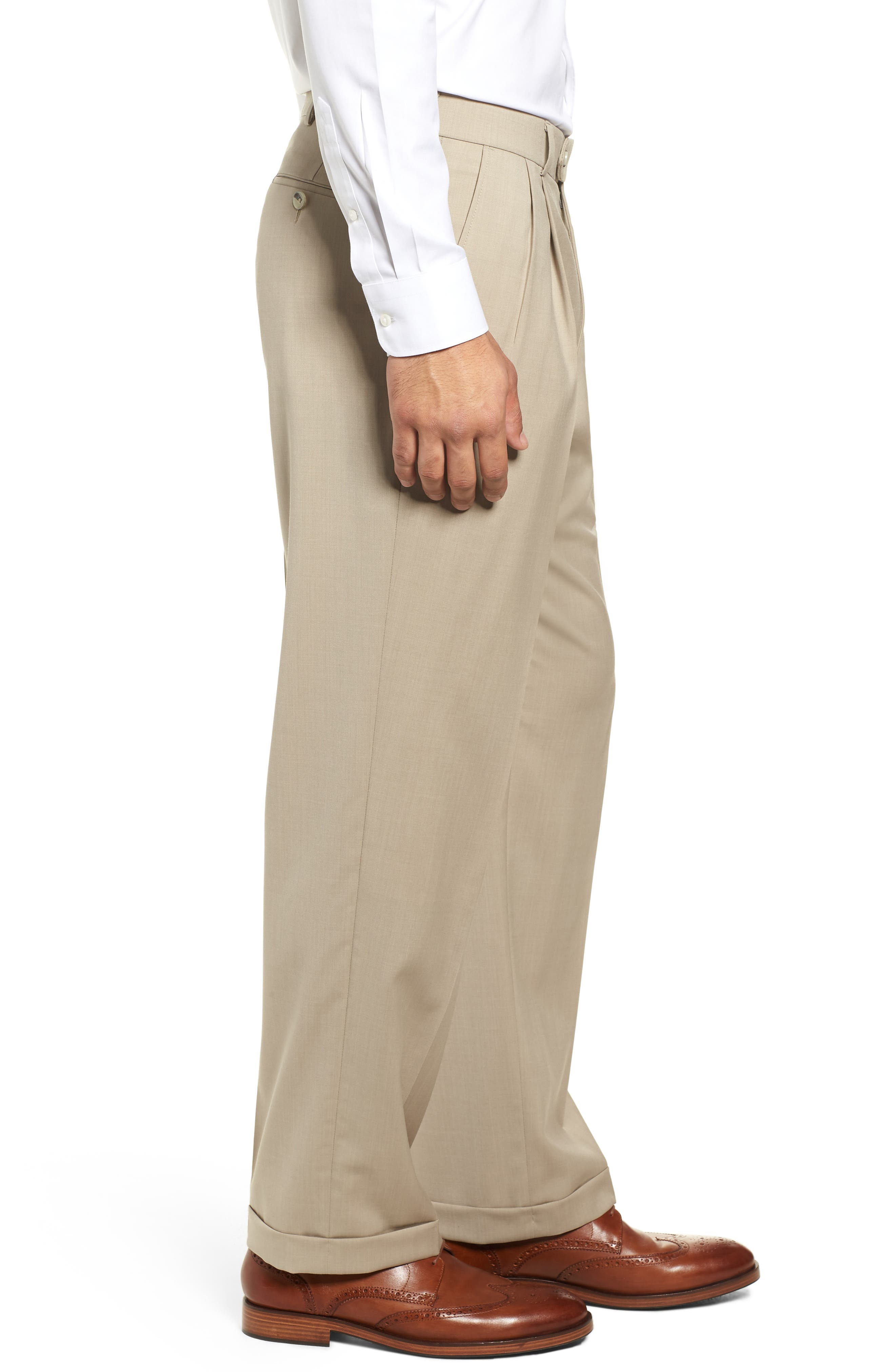 BALLIN, Pleated Solid Wool Trousers, Alternate thumbnail 3, color, OATMEAL