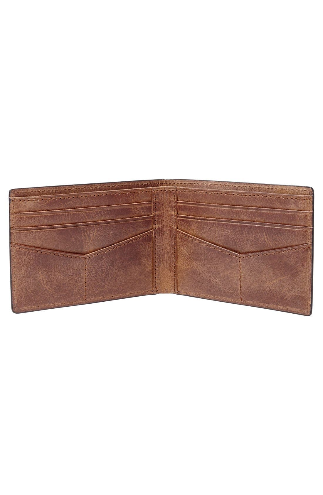 FOSSIL, 'Derrick' Leather Front Pocket Bifold Wallet, Alternate thumbnail 2, color, BROWN
