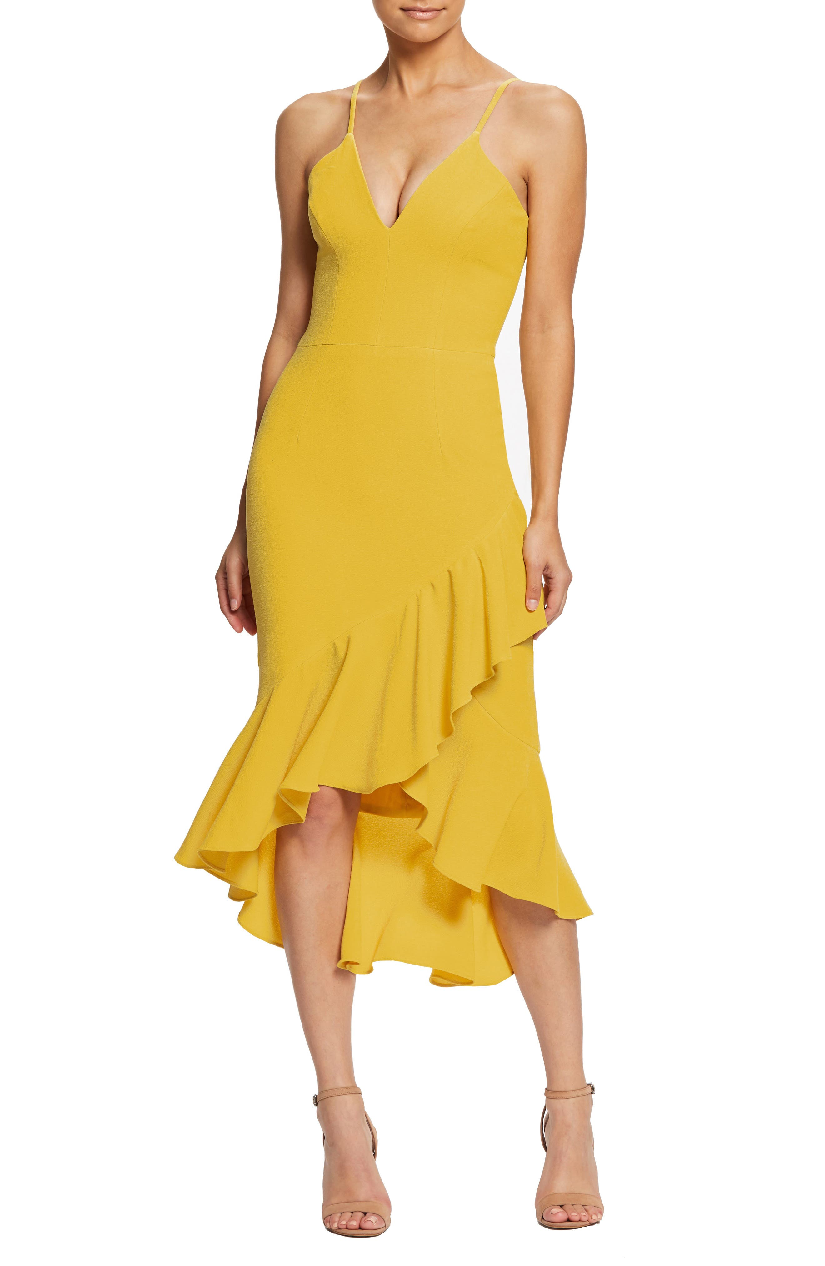 Dress The Population Wendy High/low Ruffle Cocktail Dress, Yellow
