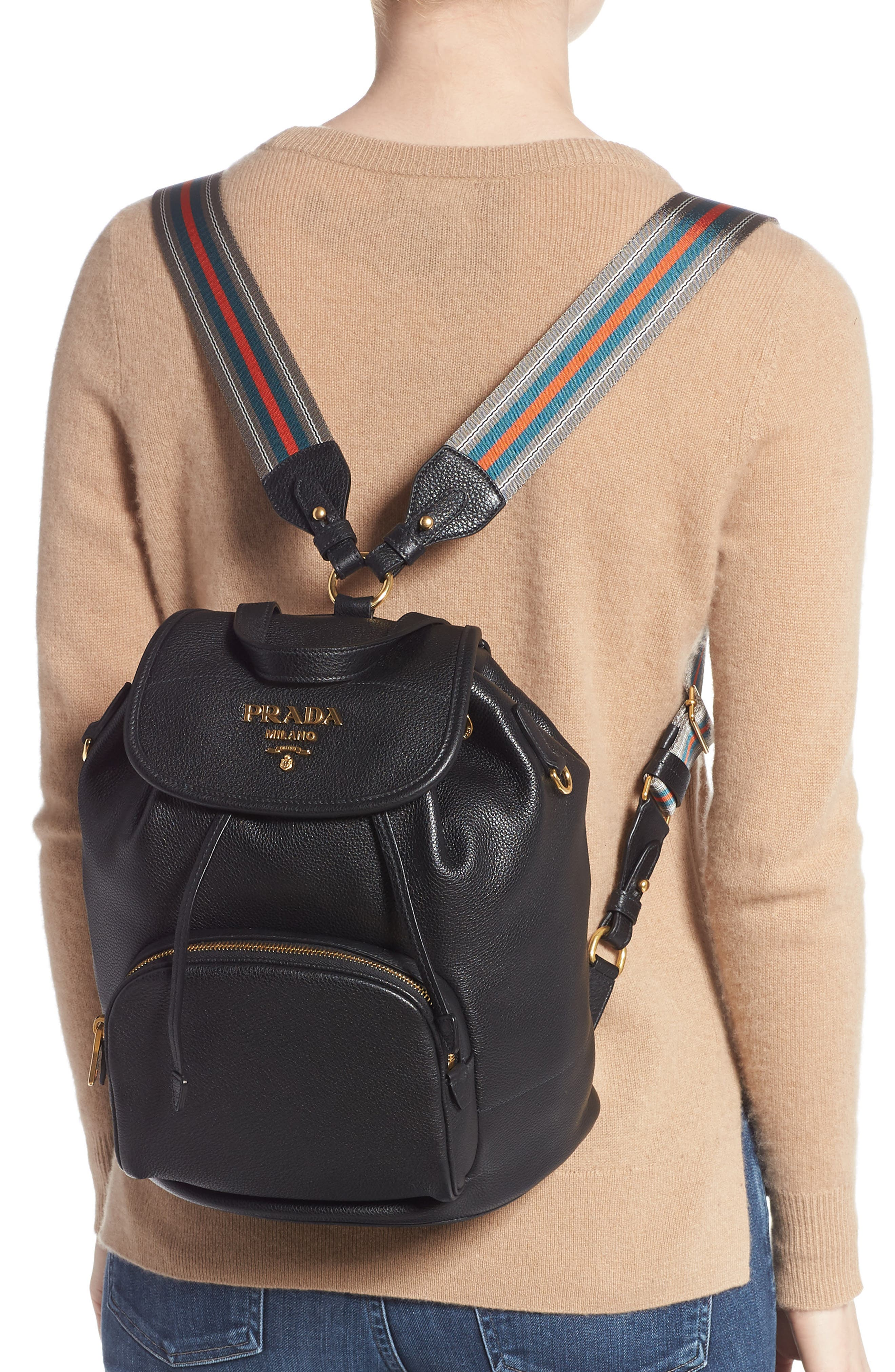 PRADA, Vitello Daino Pebbled Leather Backpack, Alternate thumbnail 2, color, 001