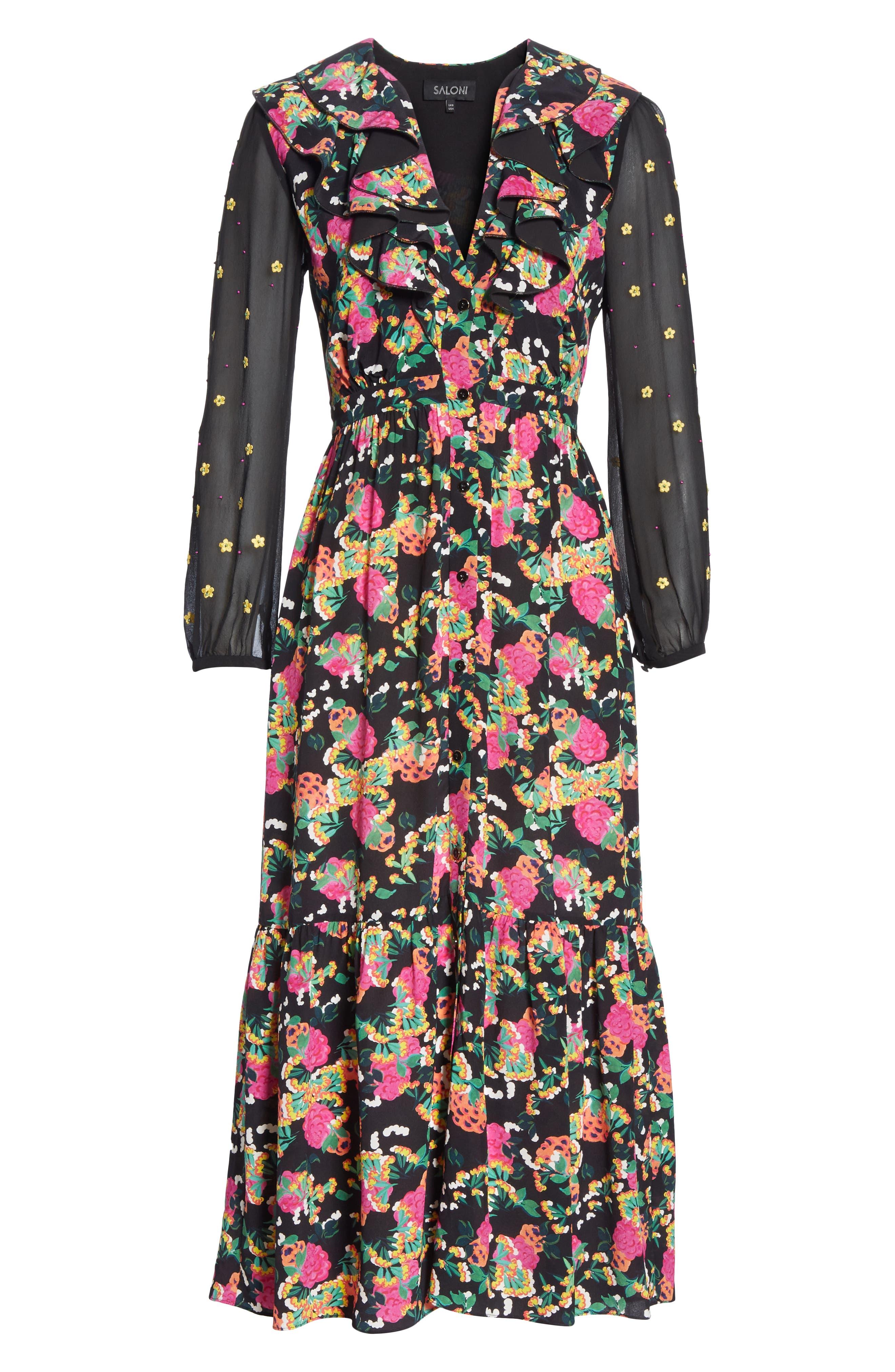 SALONI, Ginny Silk Midi Dress, Alternate thumbnail 6, color, HYDRANGEA/ EMBELLISHMENT
