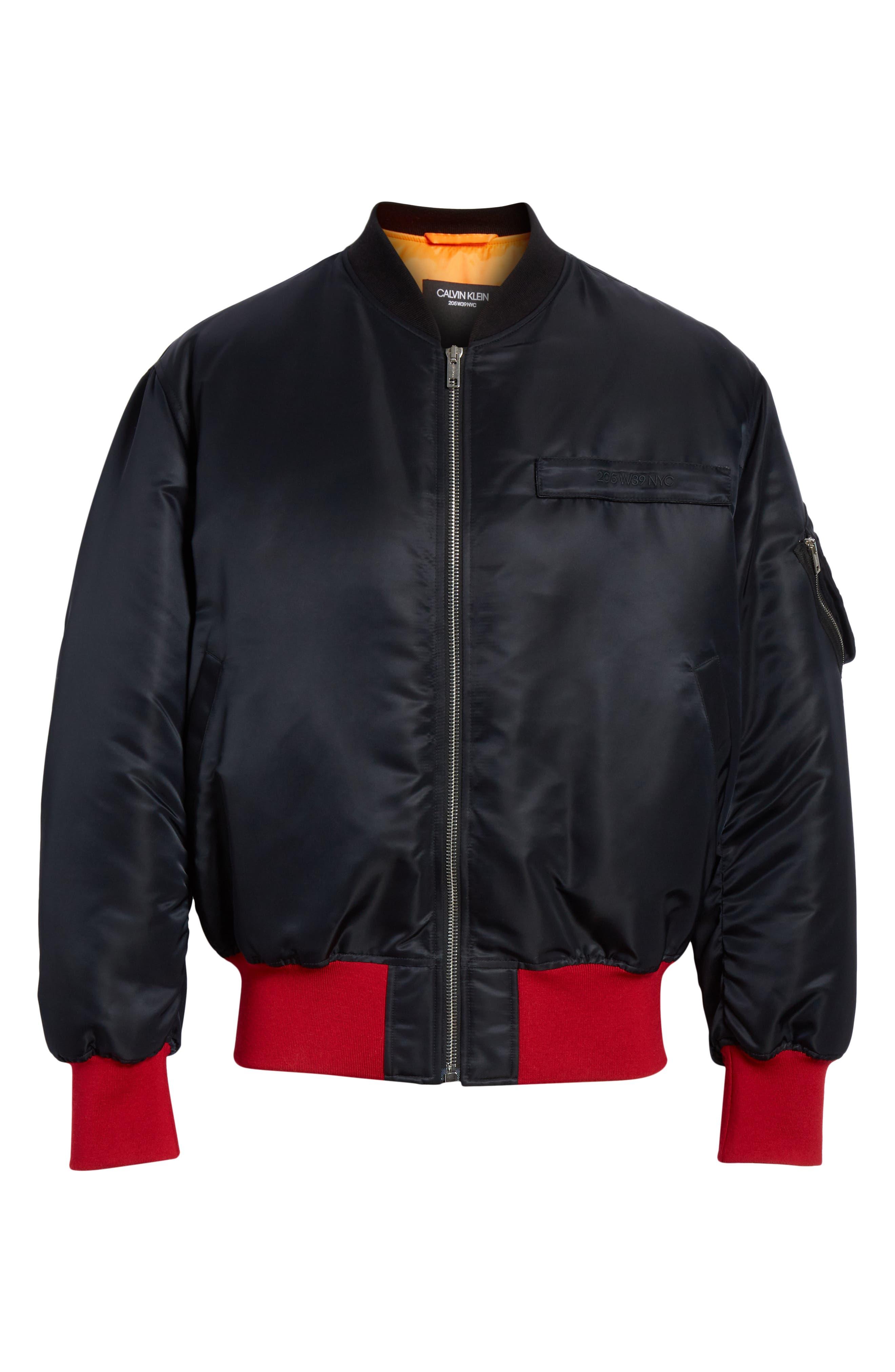 CALVIN KLEIN 205W39NYC, Satin Nylon Bomber Jacket, Alternate thumbnail 5, color, BLACK