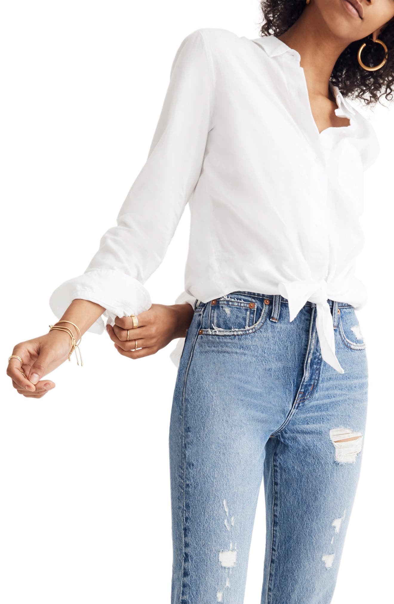 MADEWELL, Tie Front Shirt, Main thumbnail 1, color, EYELET WHITE