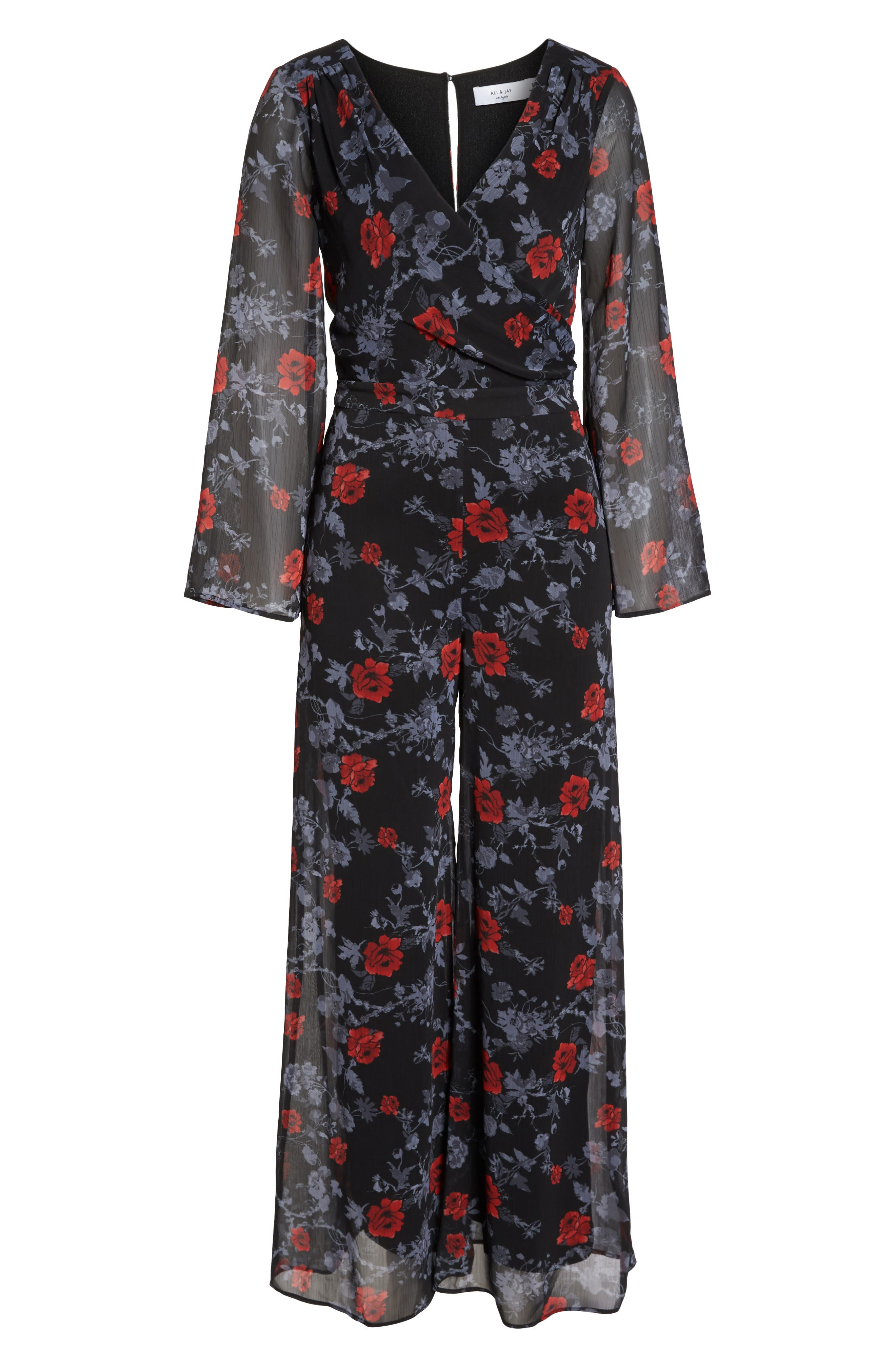 ALI & JAY, Only Wish Floral Jumpsuit, Alternate thumbnail 7, color, 001
