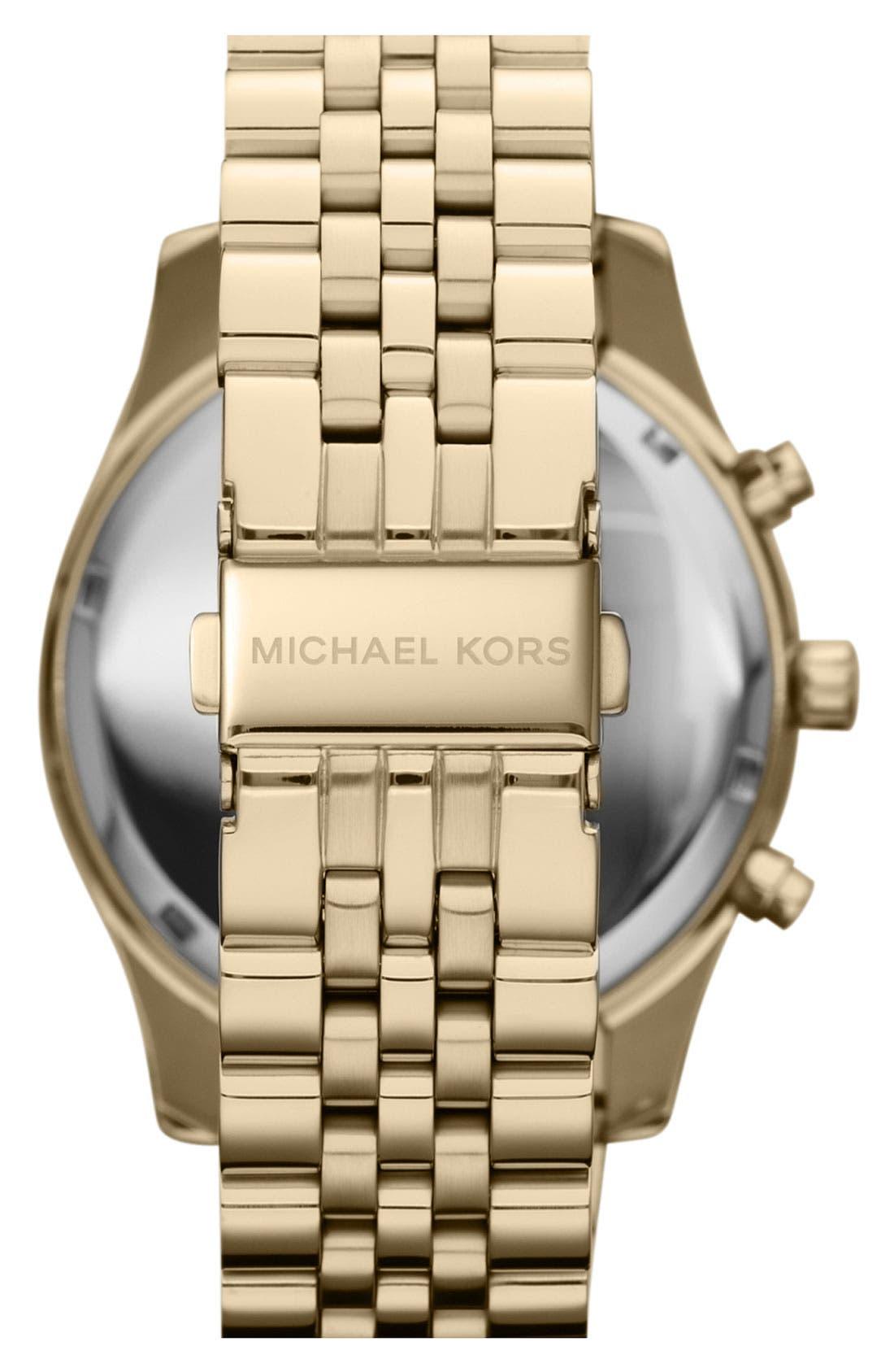 MICHAEL KORS, 'Large Lexington' Chronograph Bracelet Watch, 45mm, Alternate thumbnail 2, color, 710