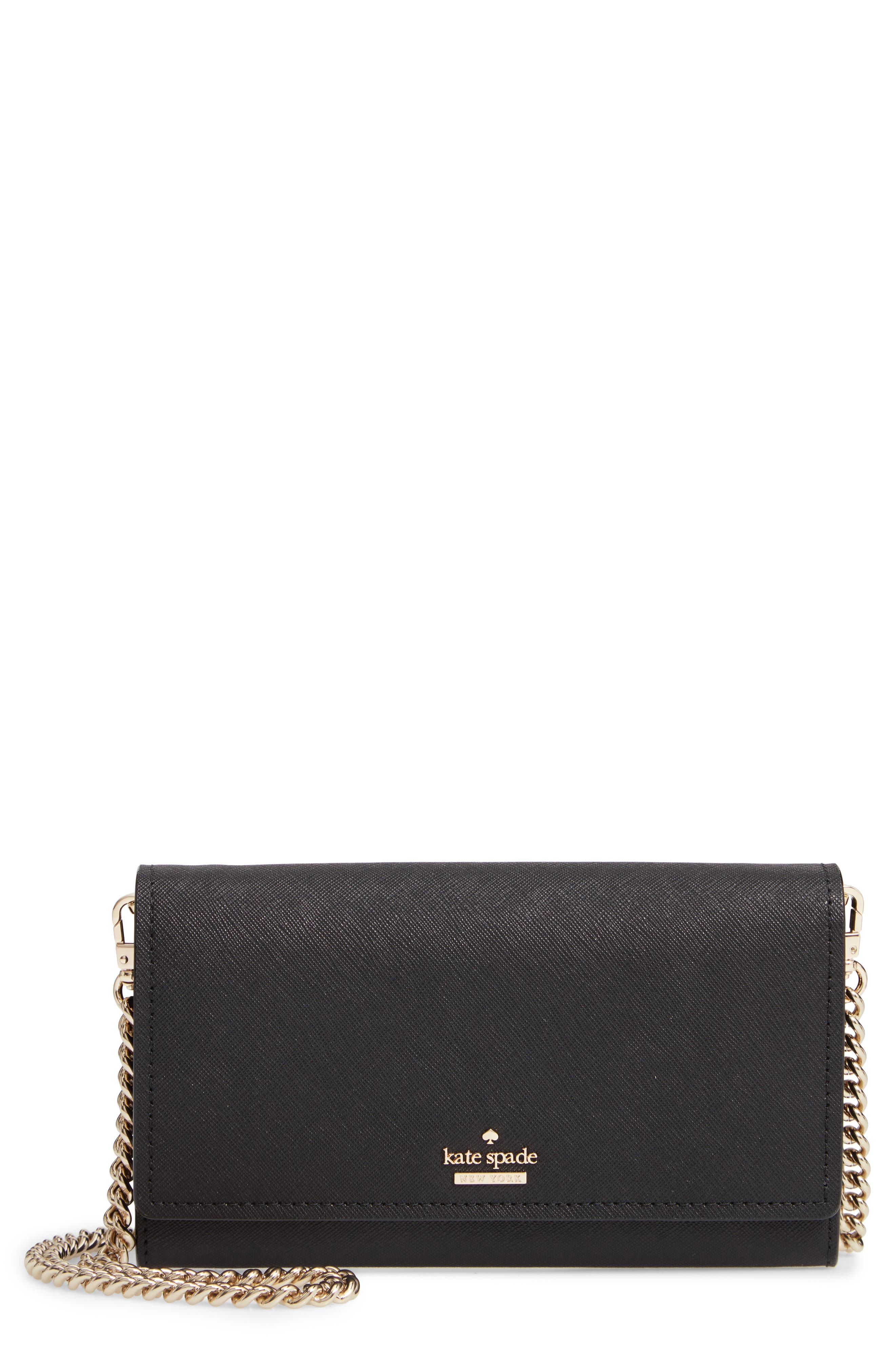 KATE SPADE NEW YORK, cameron street - franny leather wallet on a chain, Main thumbnail 1, color, 001