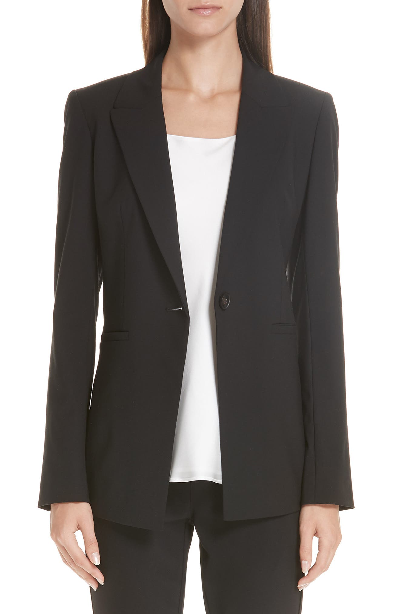 LAFAYETTE 148 NEW YORK, Charice Stretch Wool Jacket, Main thumbnail 1, color, BLACK