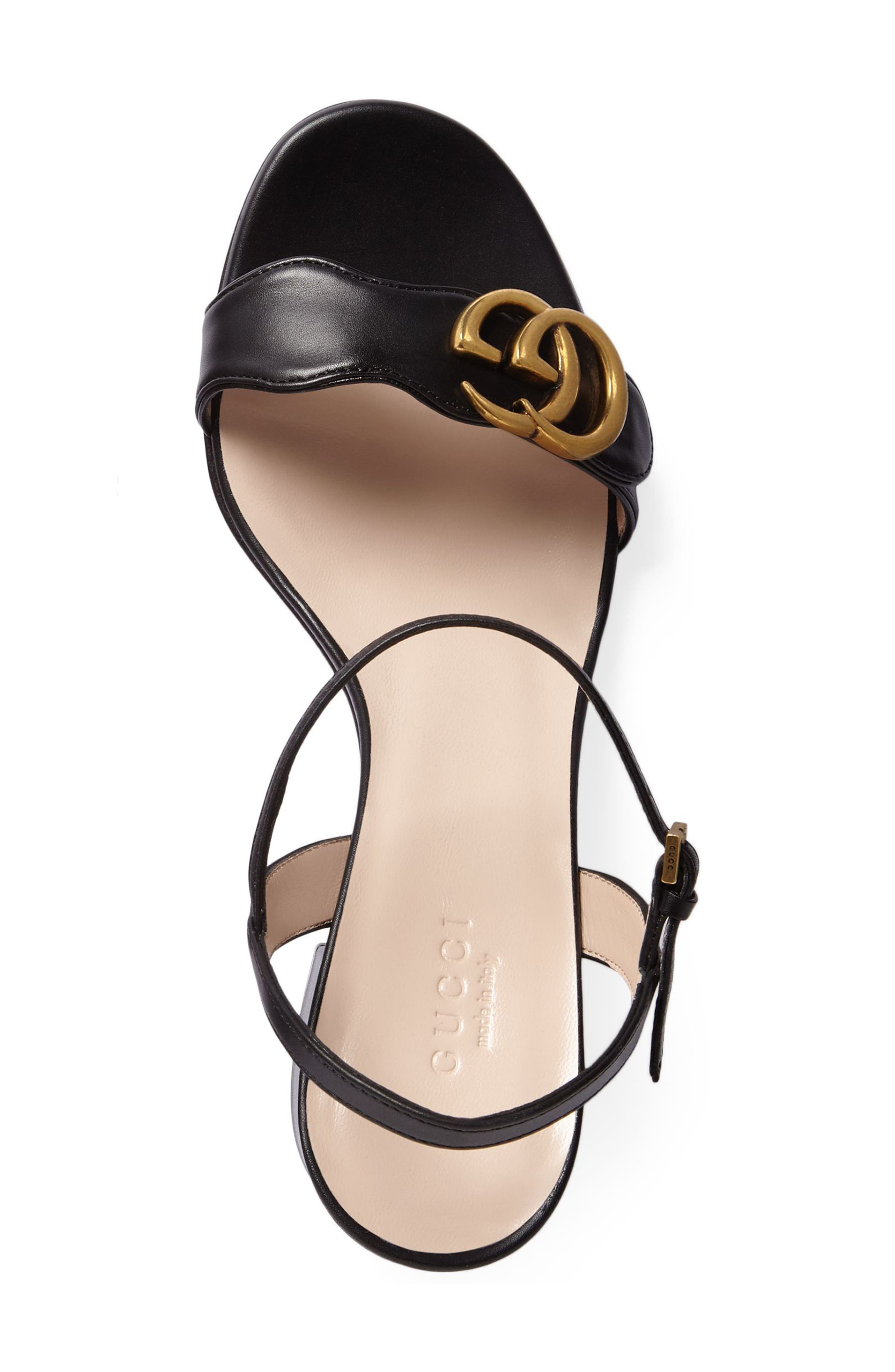 GUCCI, GG Marmont Sandal, Alternate thumbnail 4, color, BLACK LEATHER