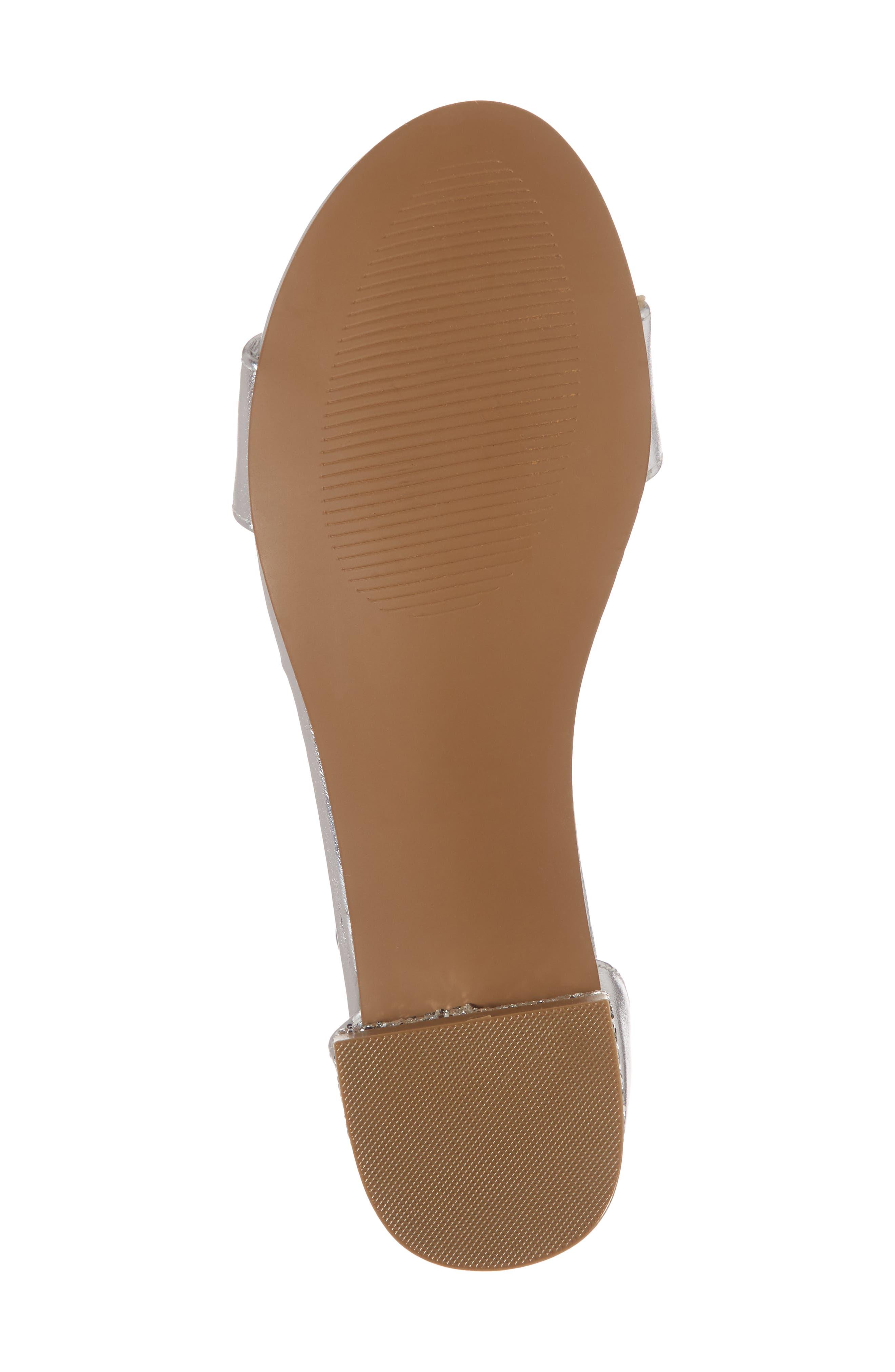 STUART WEITZMAN, Penelope Glitter Heel Sandal, Alternate thumbnail 6, color, SILVER