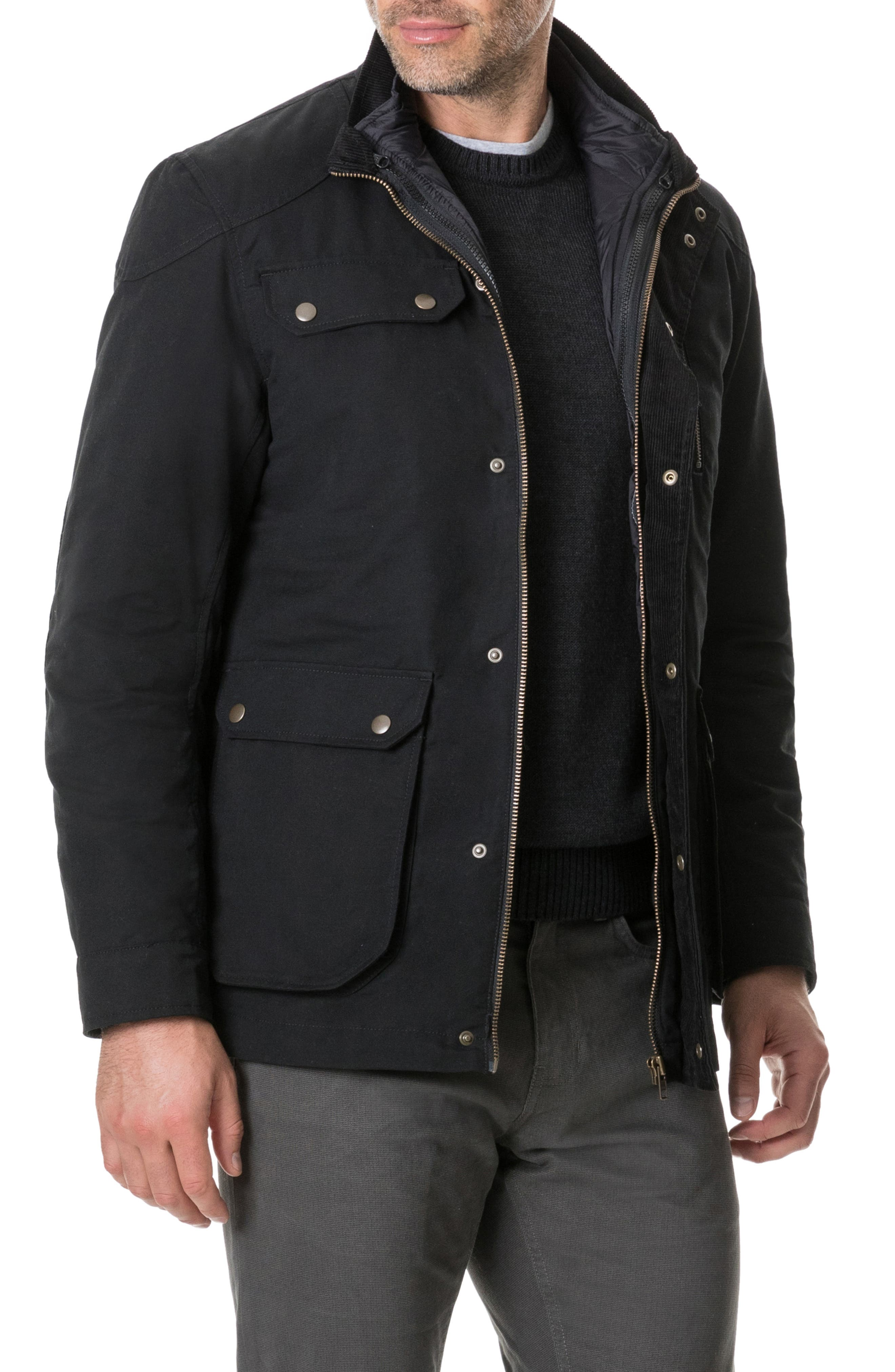 RODD & GUNN, 'Harper' Water Resistant 3-in-1 Waxed Canvas Jacket, Alternate thumbnail 11, color, ONYX