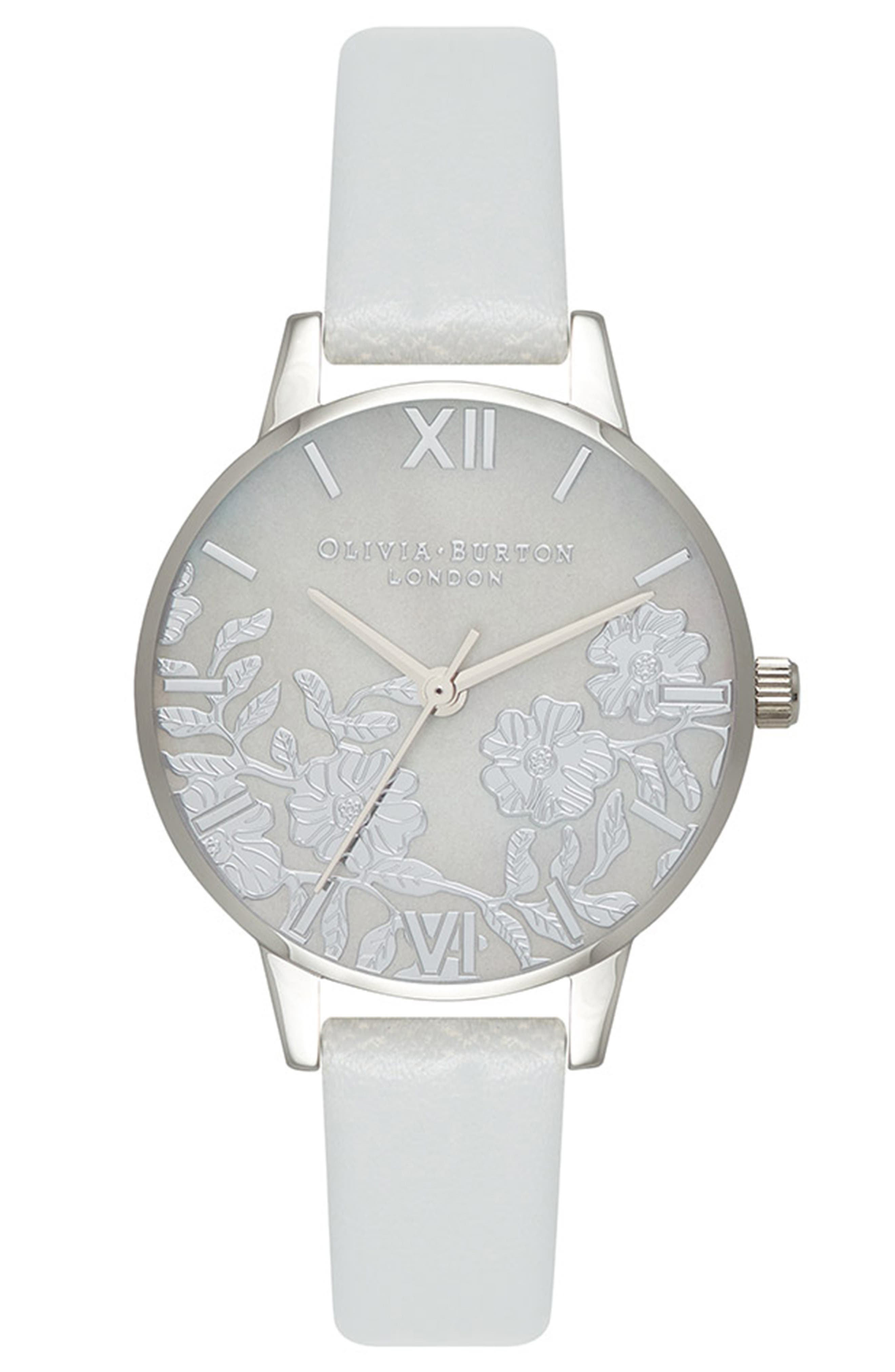 OLIVIA BURTON, Lace Leather Strap Watch, 30mm, Main thumbnail 1, color, GREY/ MOP/ SILVER