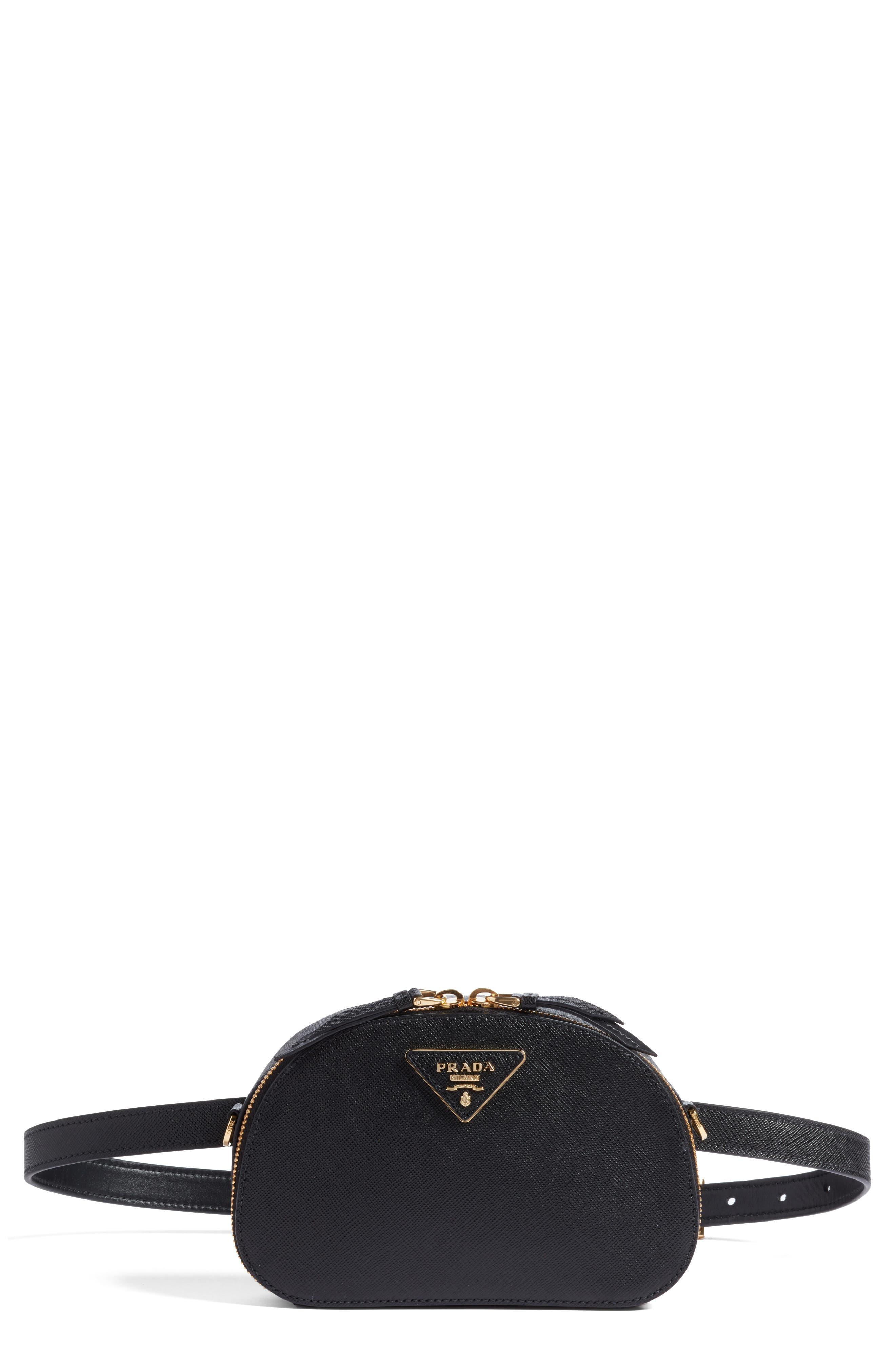 PRADA, Saffiano Leather Belt Bag, Main thumbnail 1, color, 001