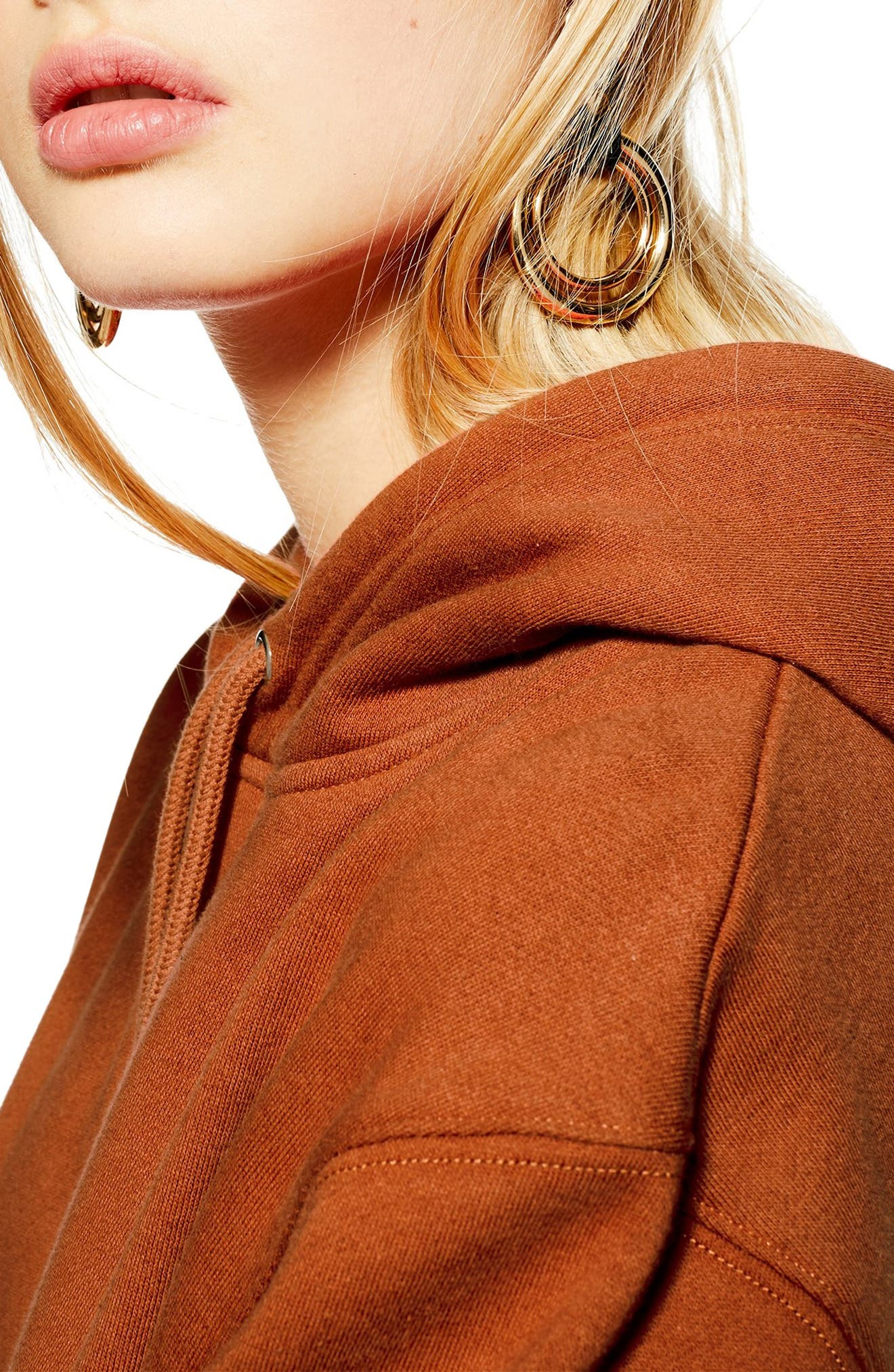 TOPSHOP, Relaxed Hooded Sweatshirt, Alternate thumbnail 3, color, RUST