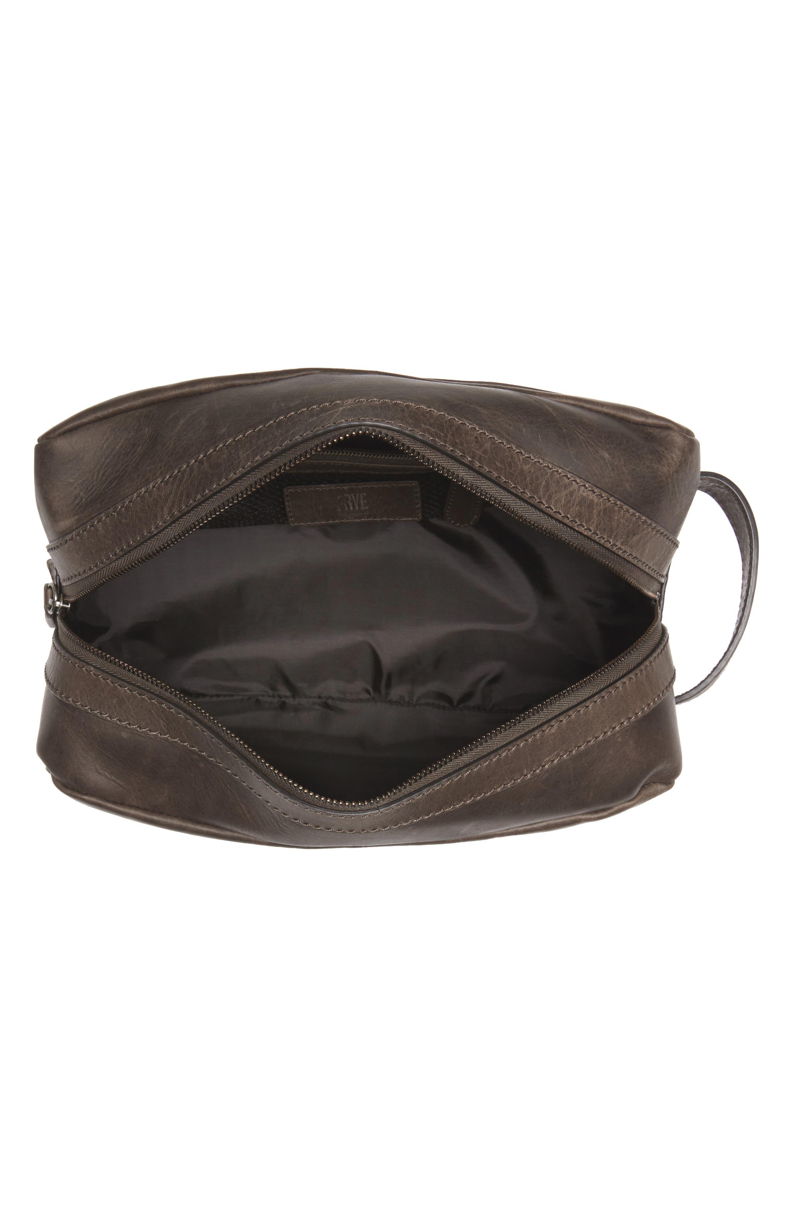 FRYE, 'Logan' Leather Travel Kit, Alternate thumbnail 3, color, SLATE