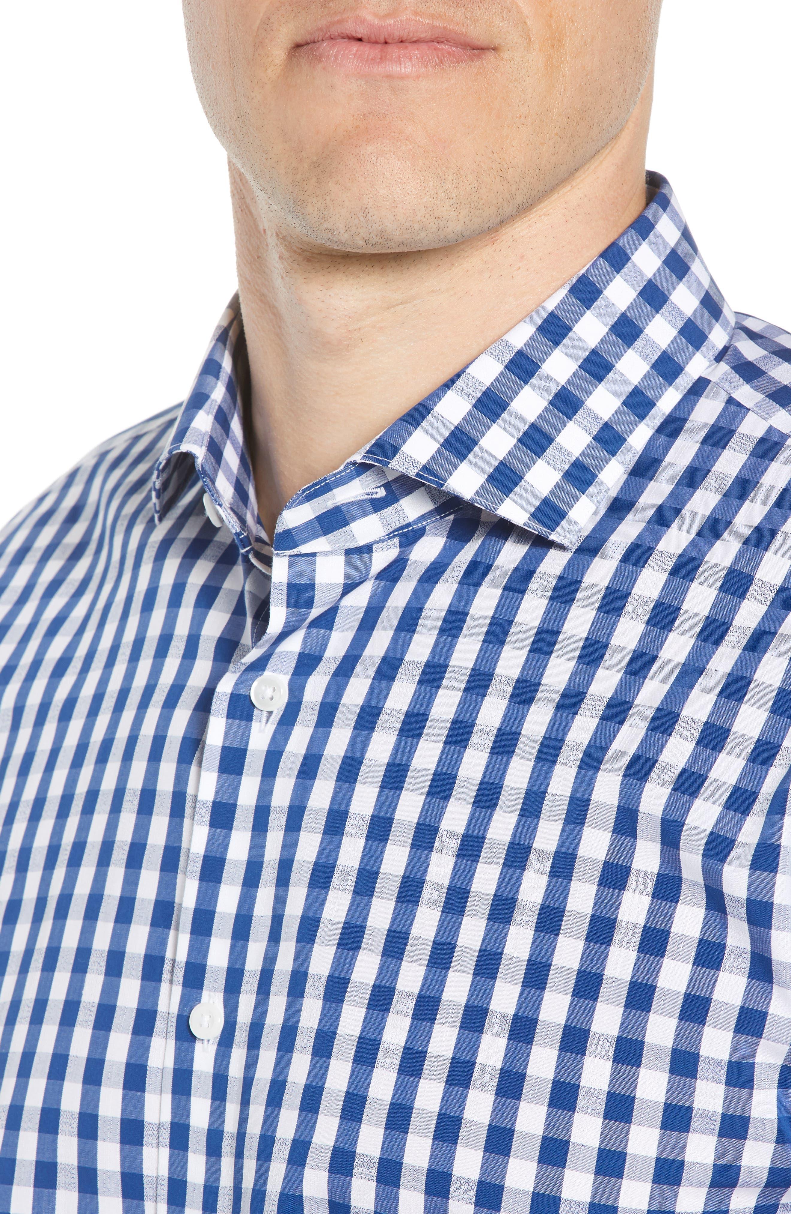 1901, Trim Fit Check Dress Shirt, Alternate thumbnail 2, color, BLUE CASPIA