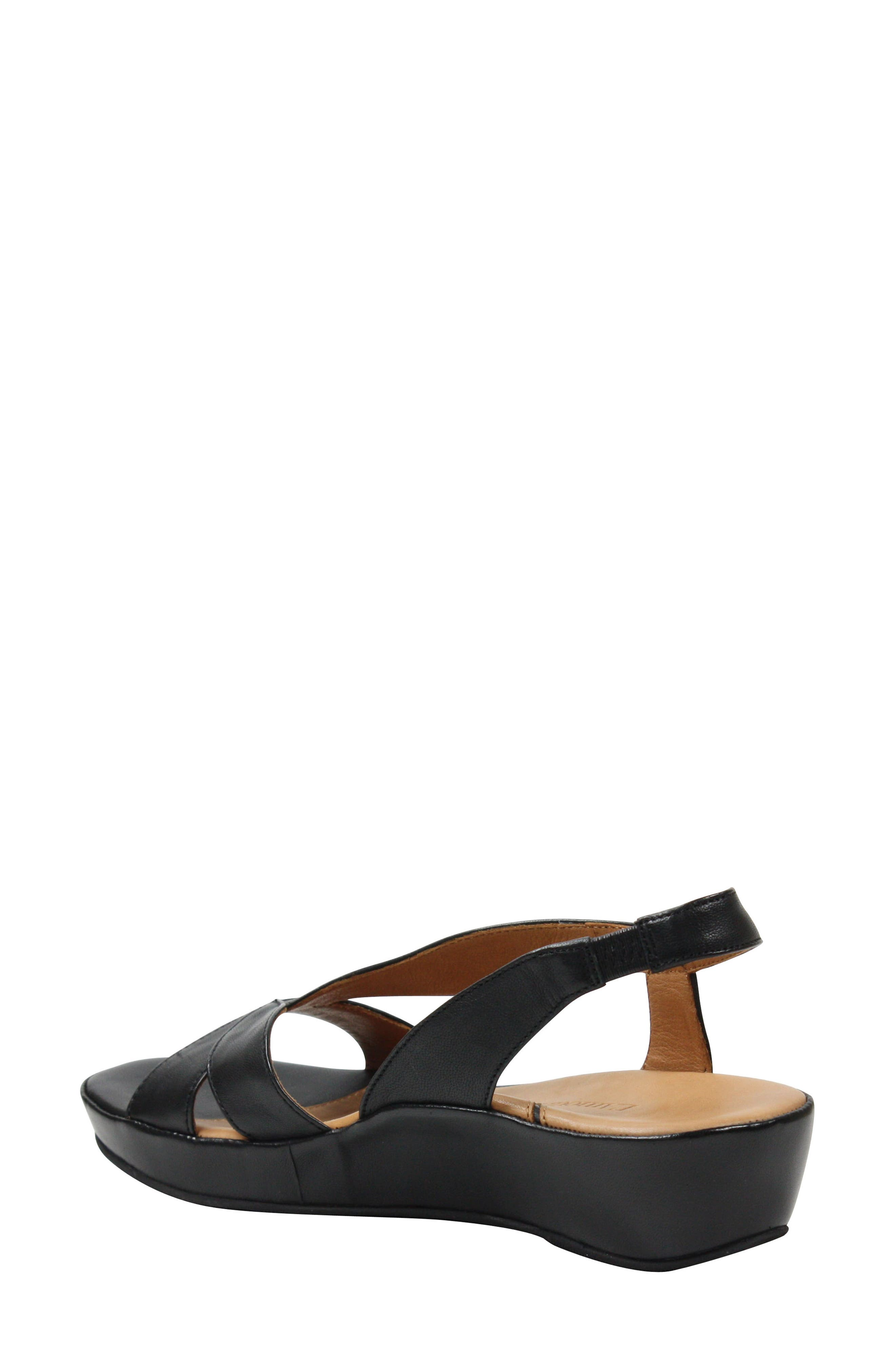 L'AMOUR DES PIEDS, Crotono Sandal, Alternate thumbnail 2, color, BLACK NAPPA LEATHER