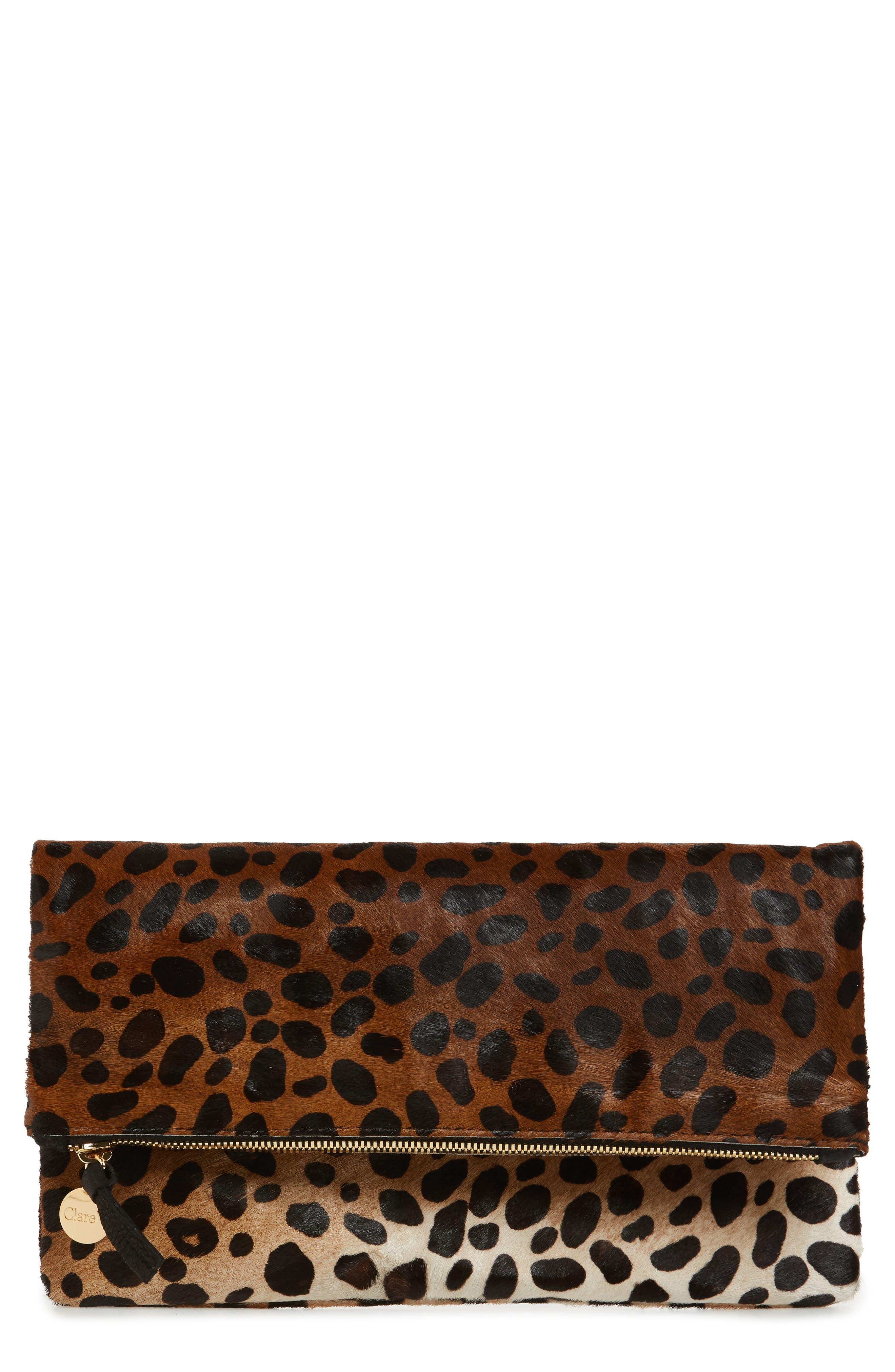 CLARE V. Genuine Calf Hair Leopard Print Foldover Clutch, Main, color, 203