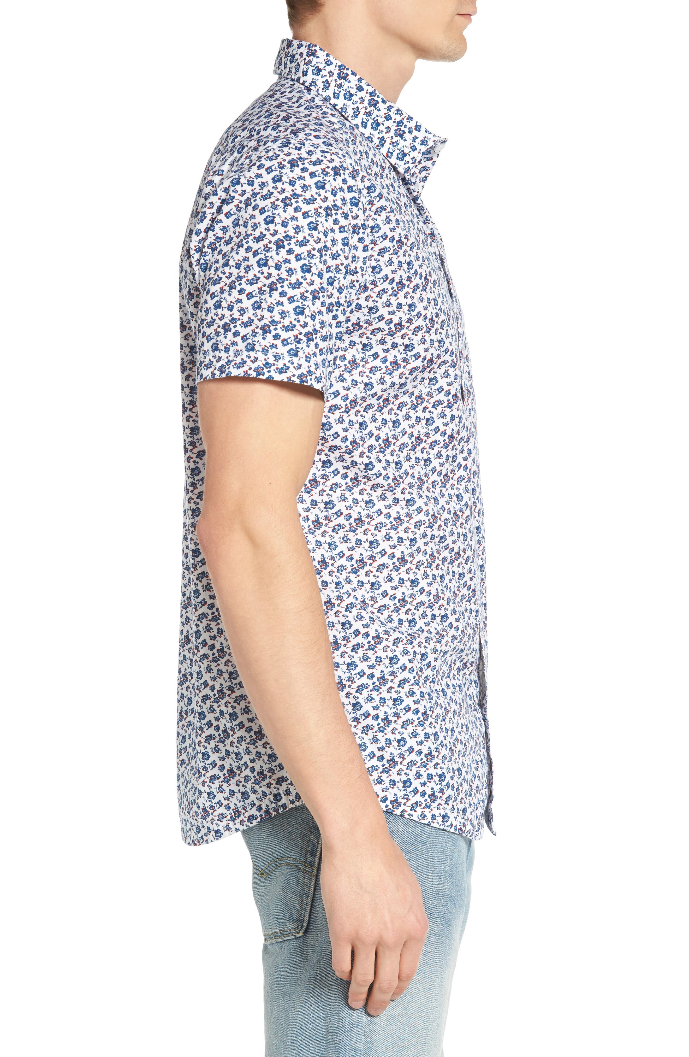 RVCA, Print Woven Shirt, Alternate thumbnail 3, color, ANTIQUE WHITE