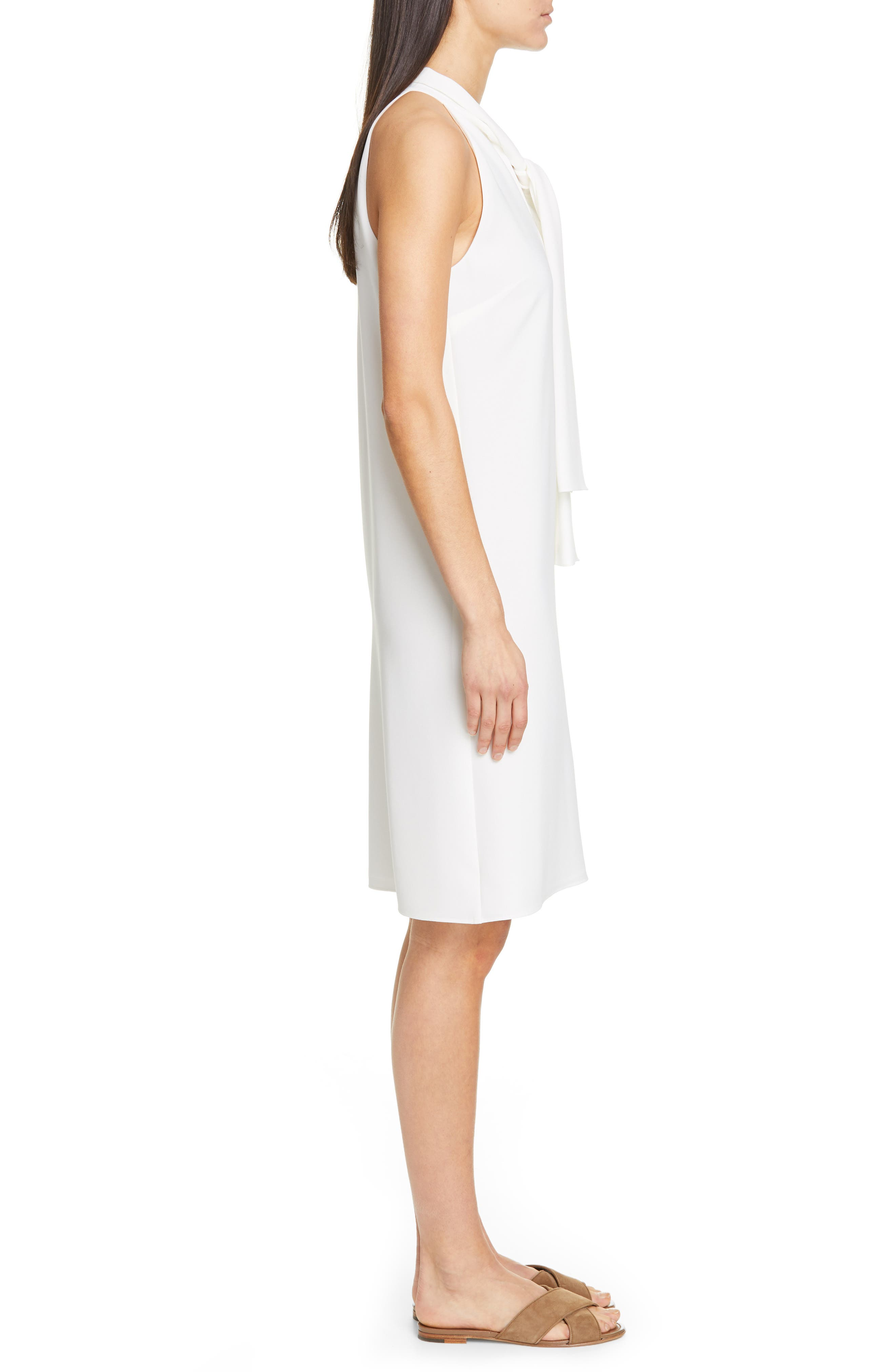LAFAYETTE 148 NEW YORK, Amore Finesse Crepe Dress, Alternate thumbnail 4, color, CLOUD