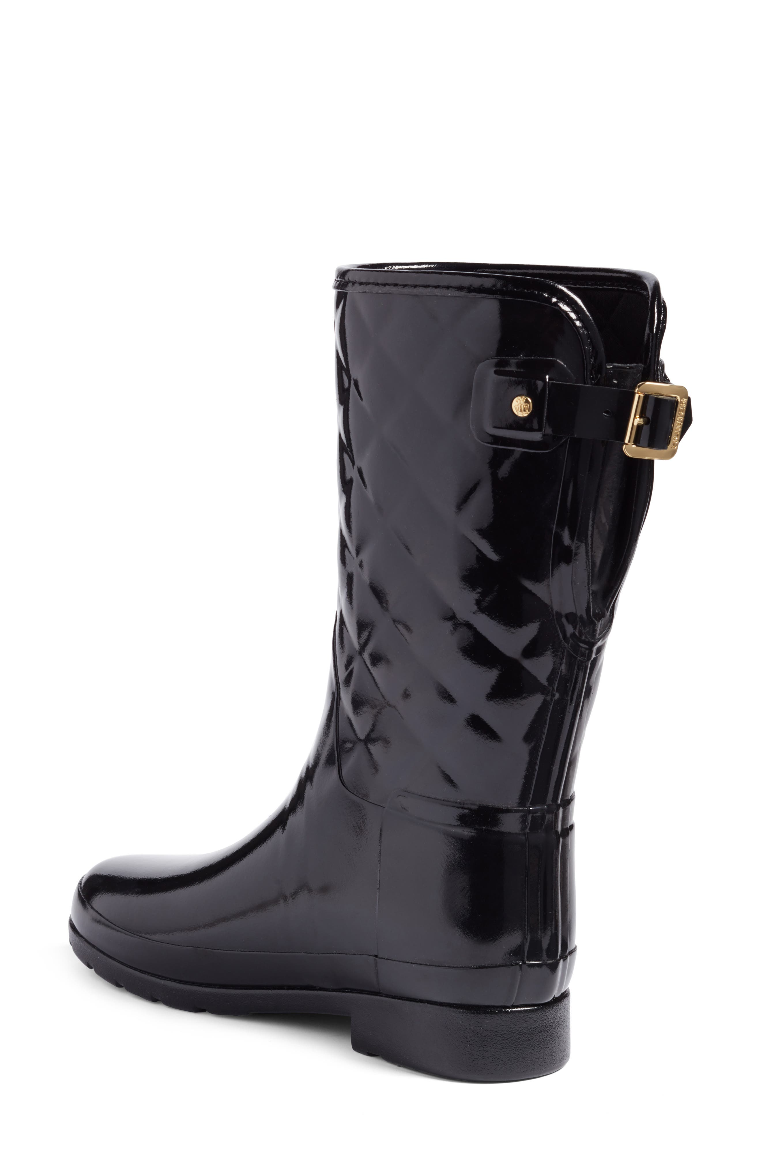 HUNTER, Refined High Gloss Quilted Short Waterproof Rain Boot, Alternate thumbnail 2, color, BLACK