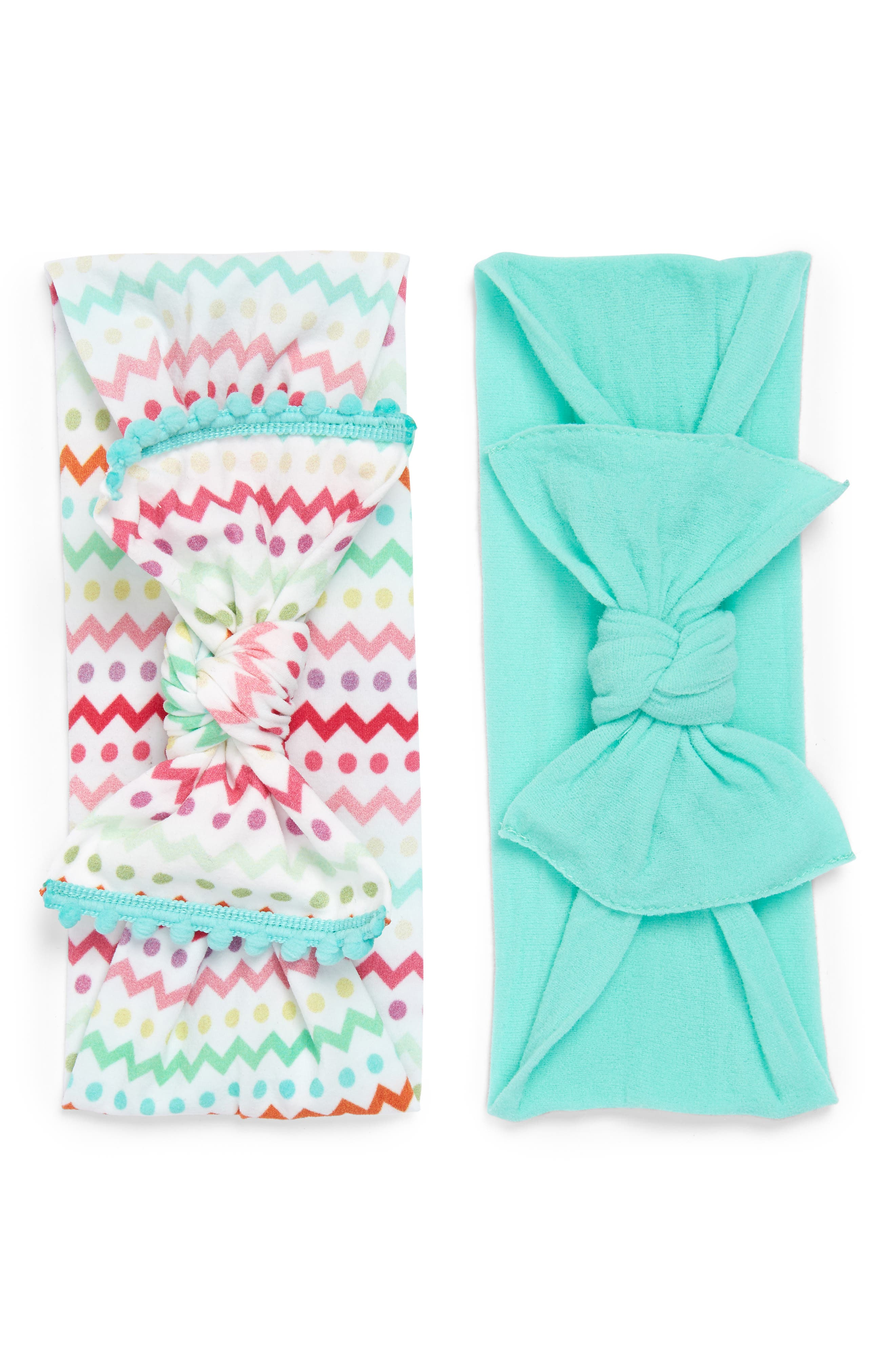 BABY BLING, 2-Pack Knotted Headbands, Main thumbnail 1, color, EASTER STRIPES/ MINT