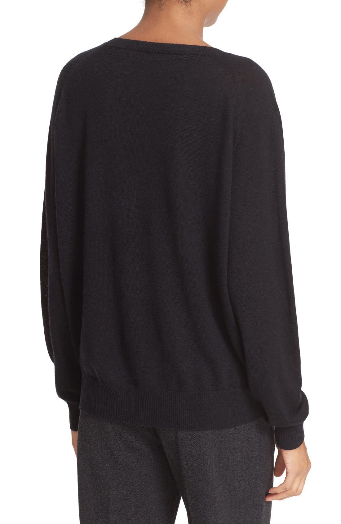 VINCE, Relaxed Cashmere V-Neck Sweater, Alternate thumbnail 4, color, 001